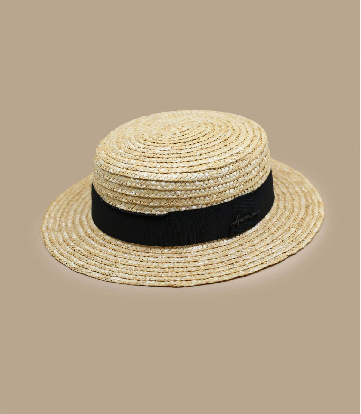 Canotier Stroh Hutband schwarz