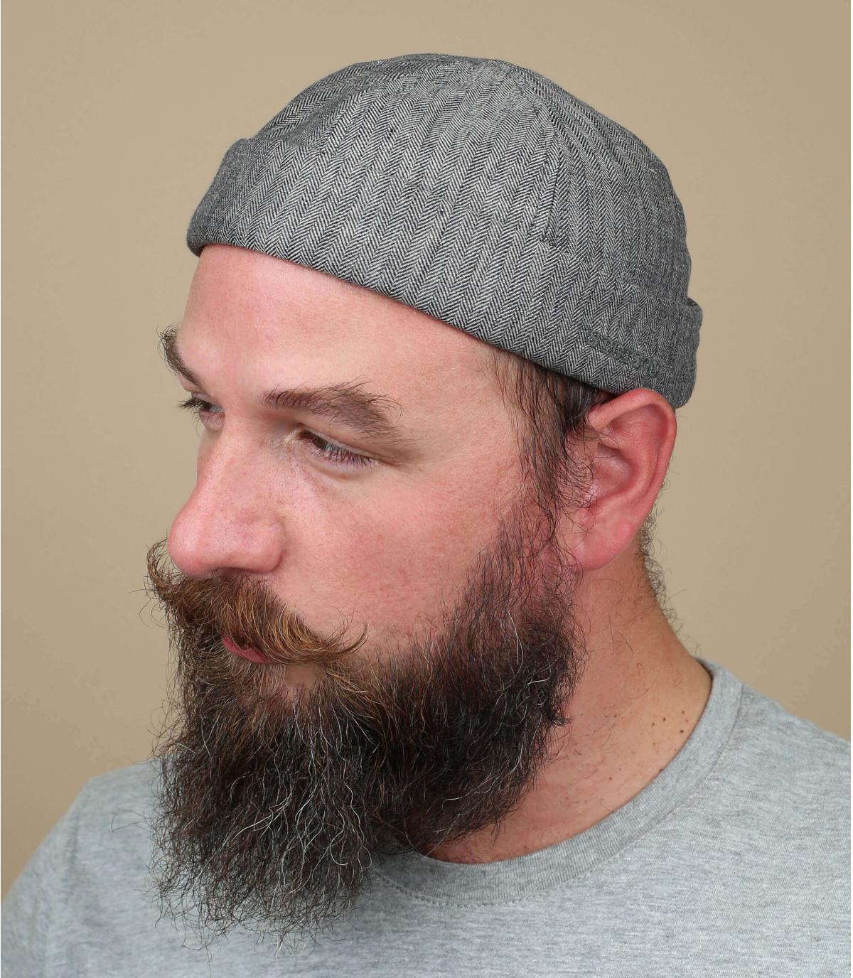 Docker Mütze Leinen grau