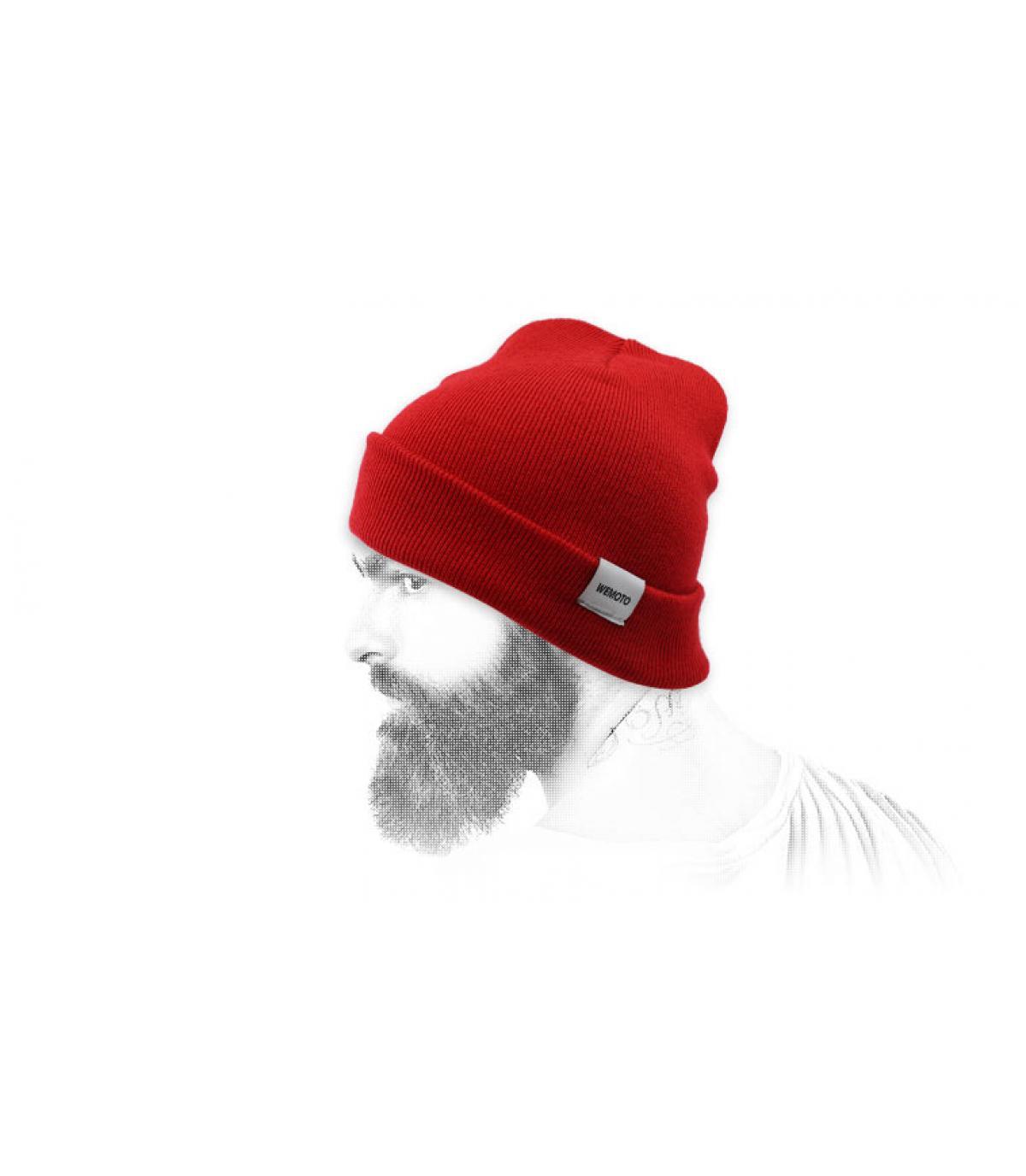 Mütze mit Rand rot Wemoto