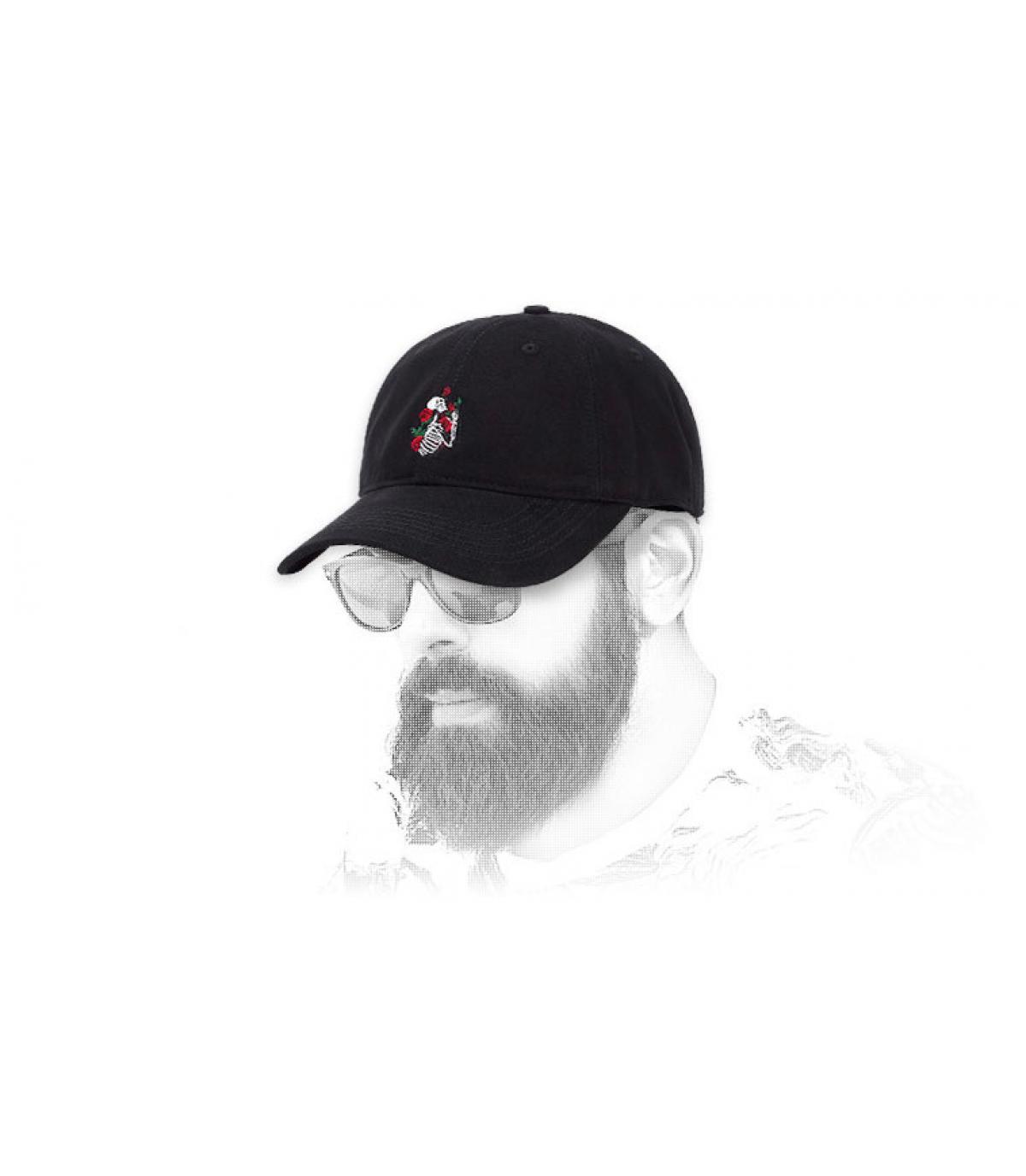 Cap Skelett Rosen schwarz