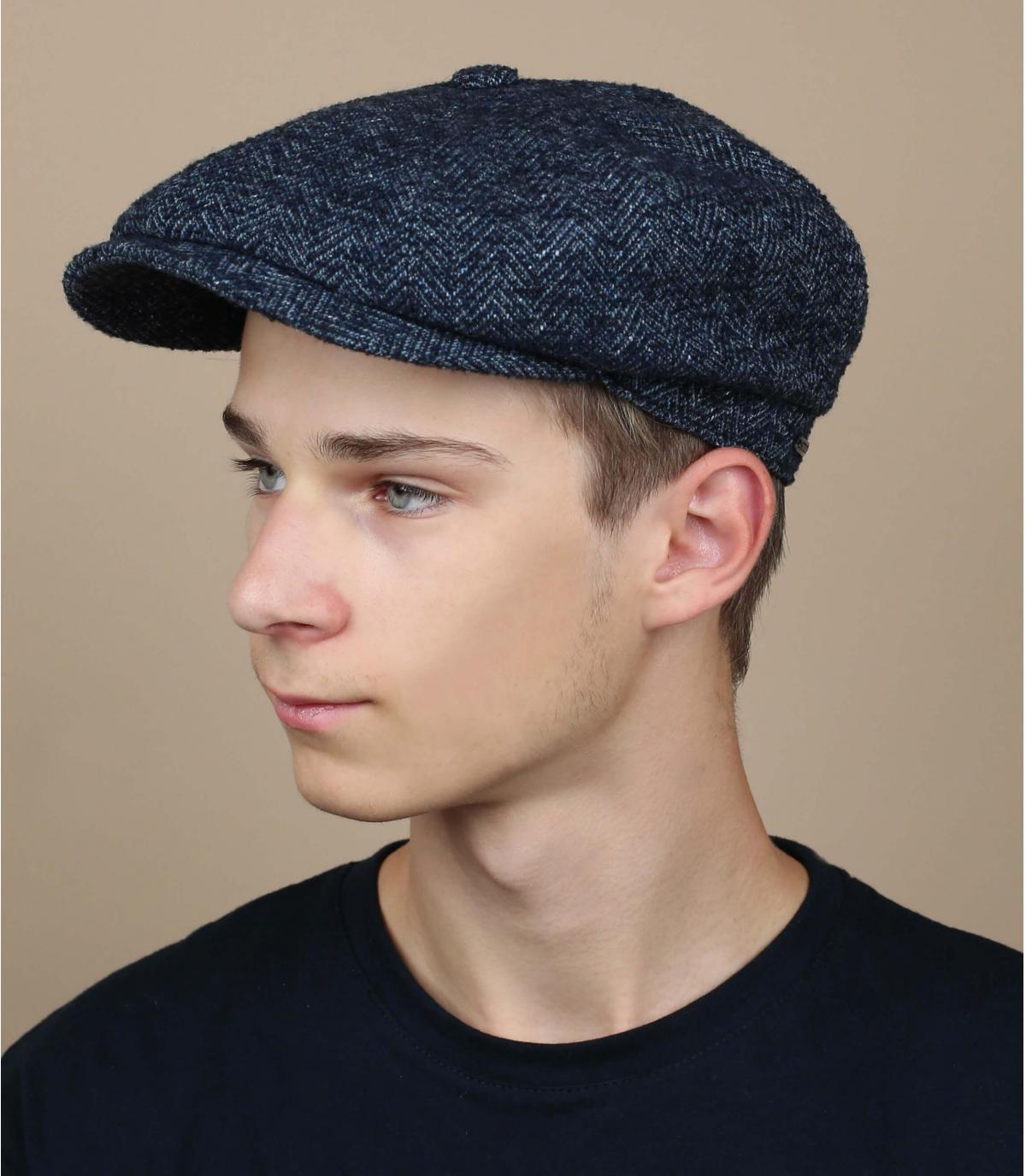 Docker Mütze blau Wolle