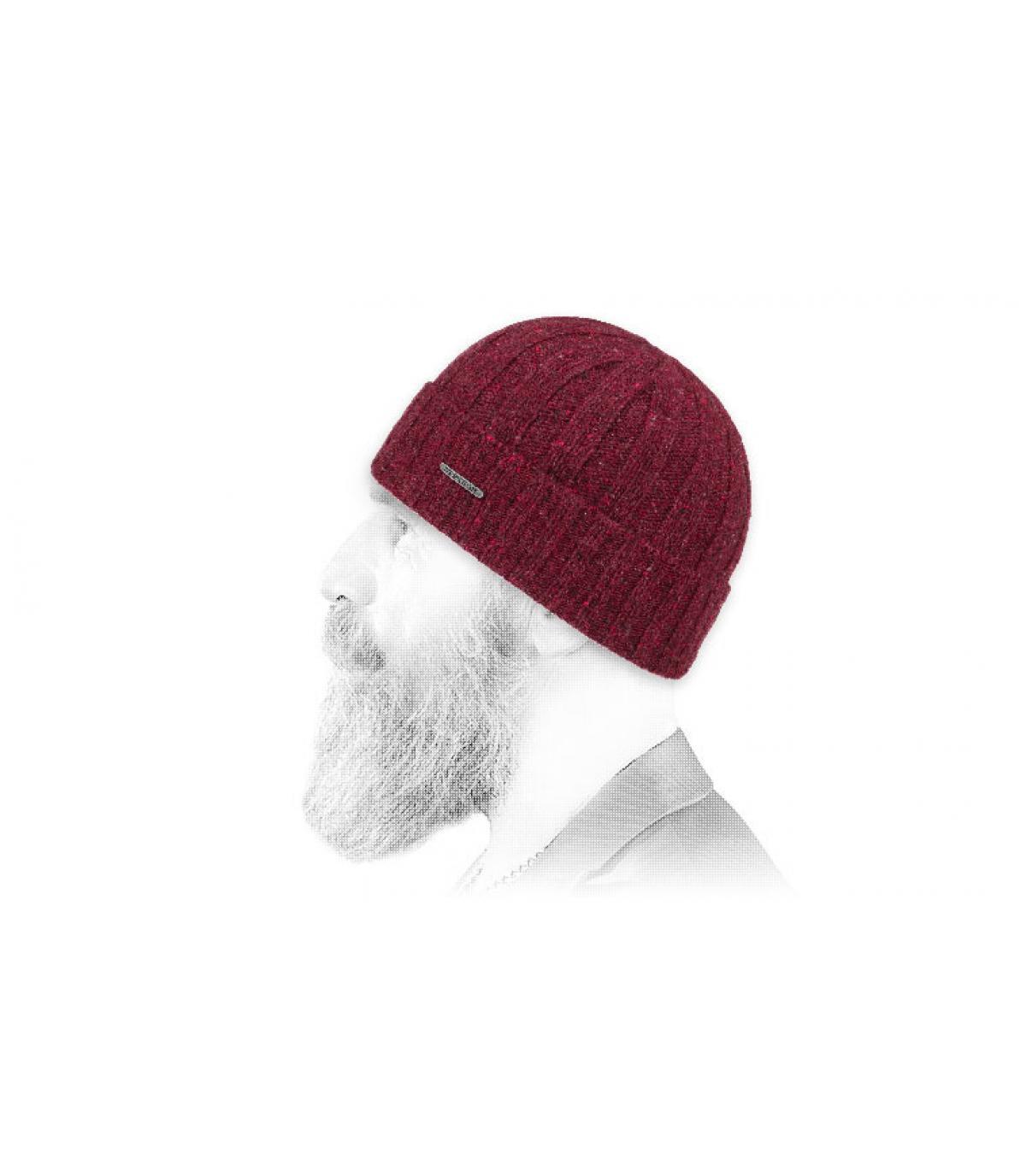 Mütze mit Rand bordeaux Wolle
