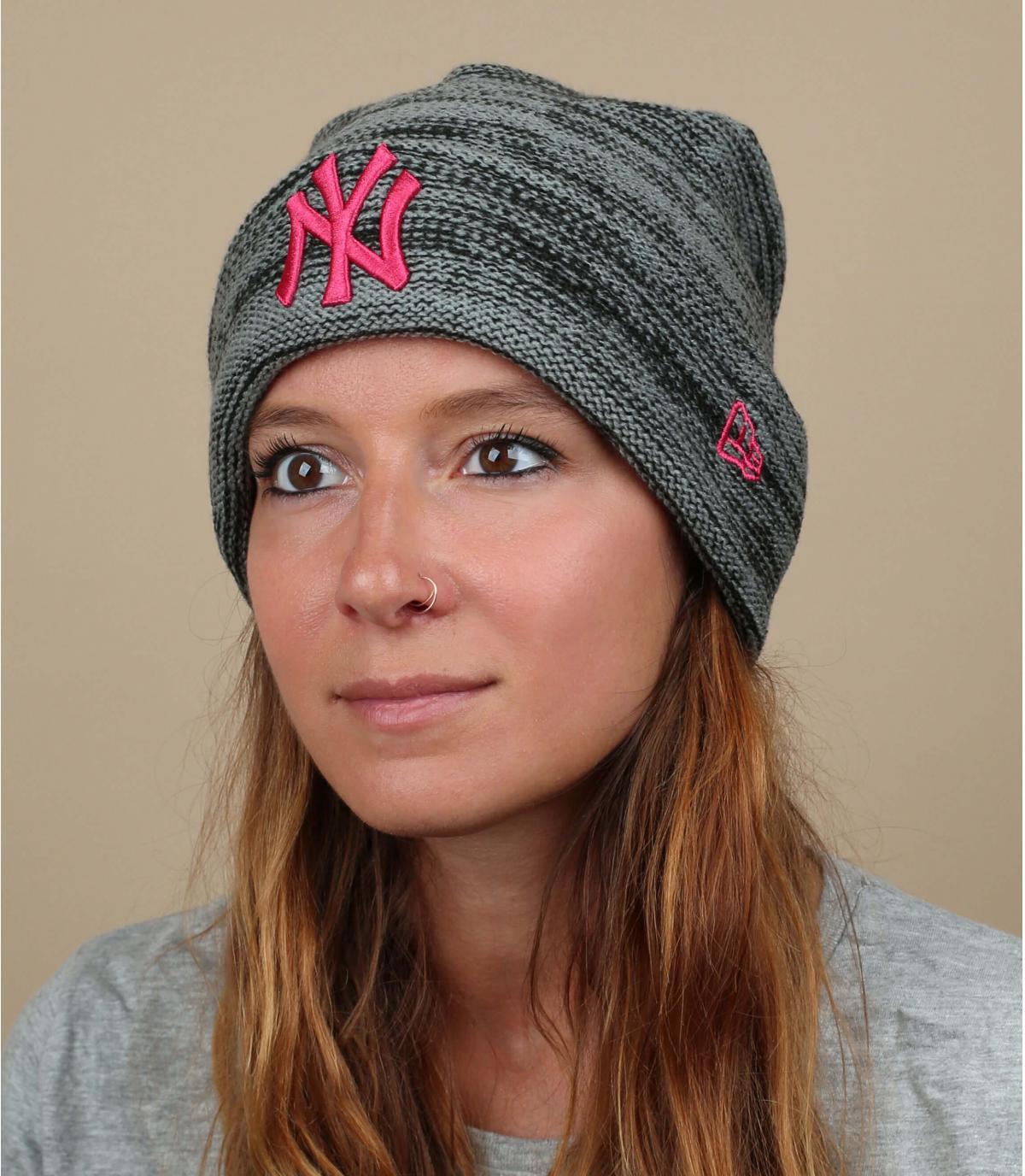 Mütze grau rosa NY