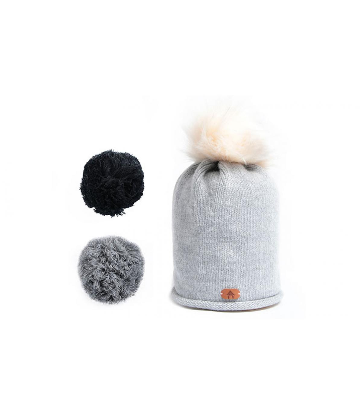 Mütze austauschbaren Bommel grau