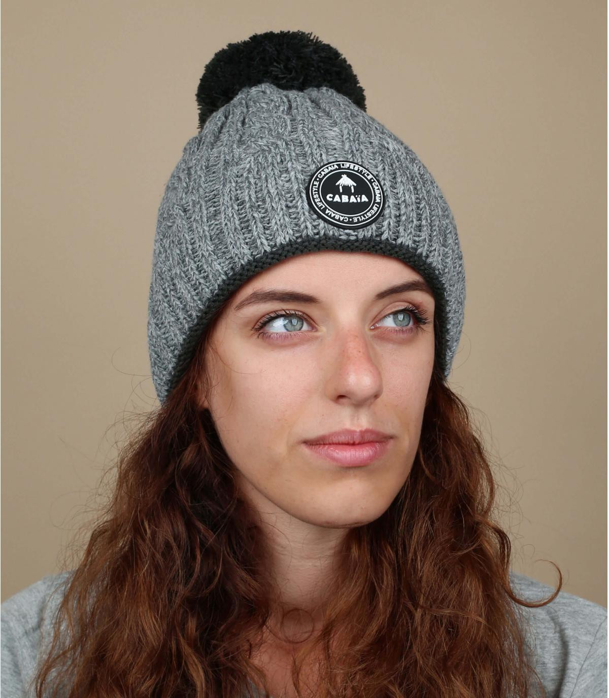 Damen Mütze grau Zopfmuster
