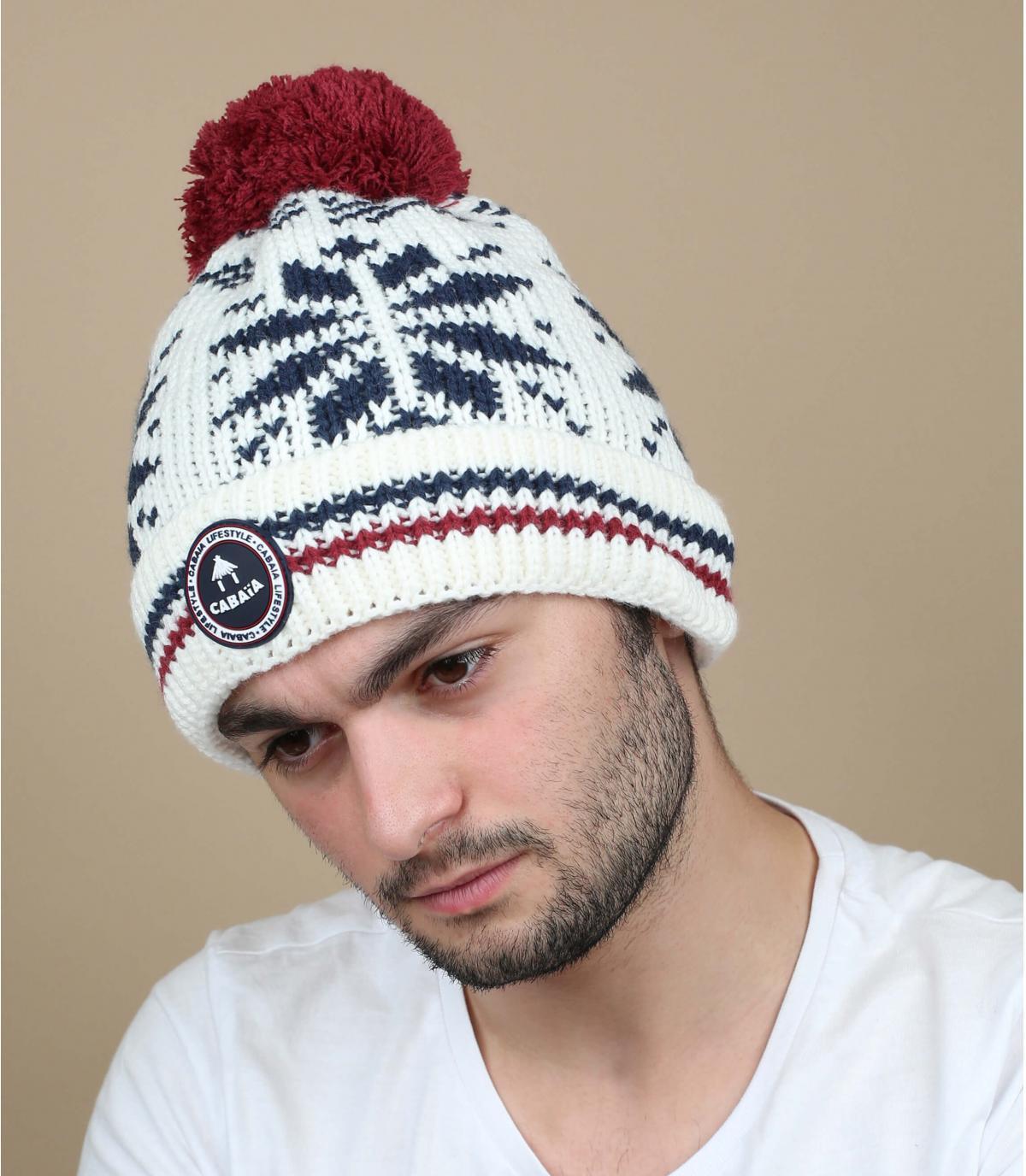 Mütze weiß Bommel austauschbar