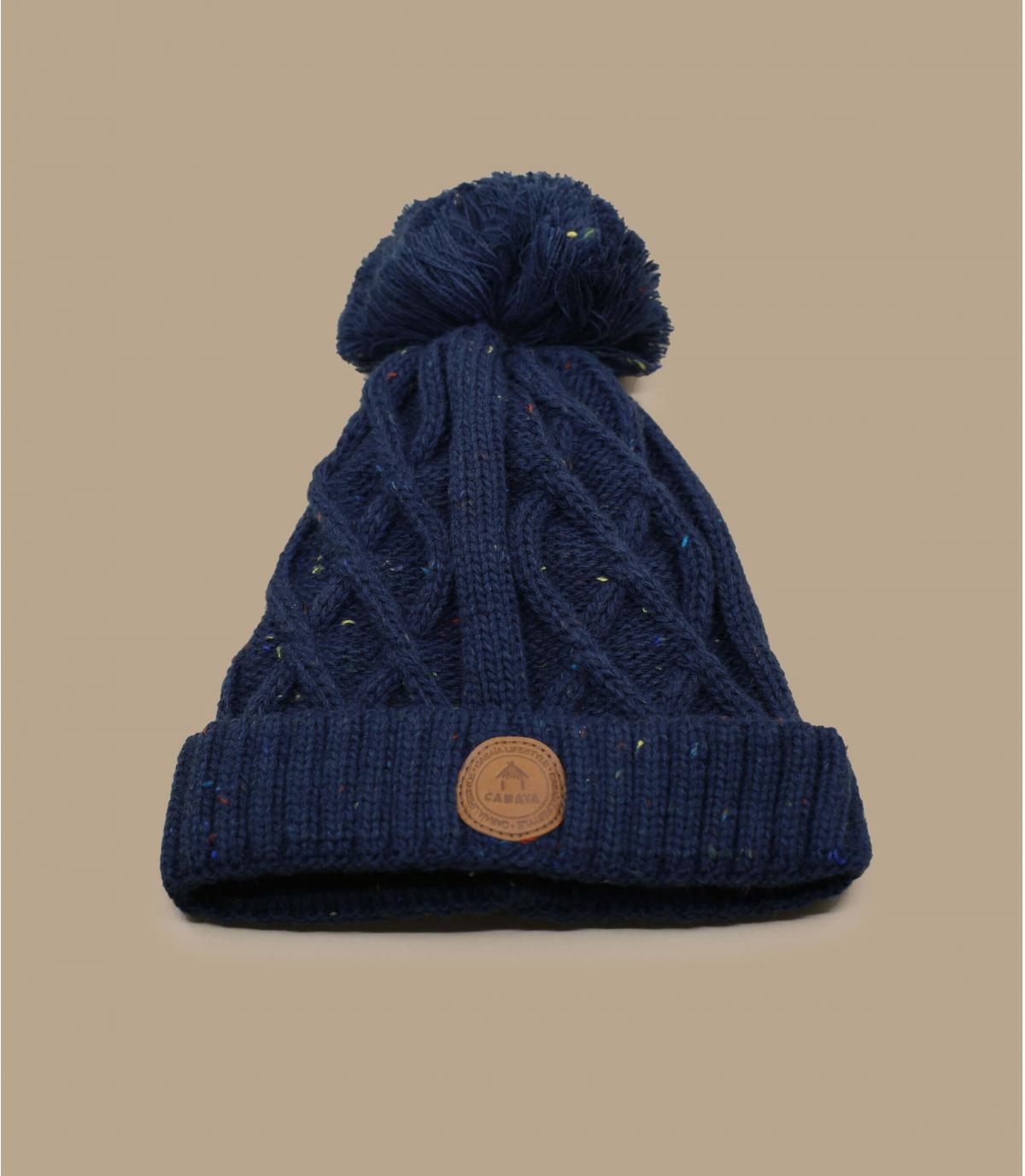 Kinder Mütze blau Bommel