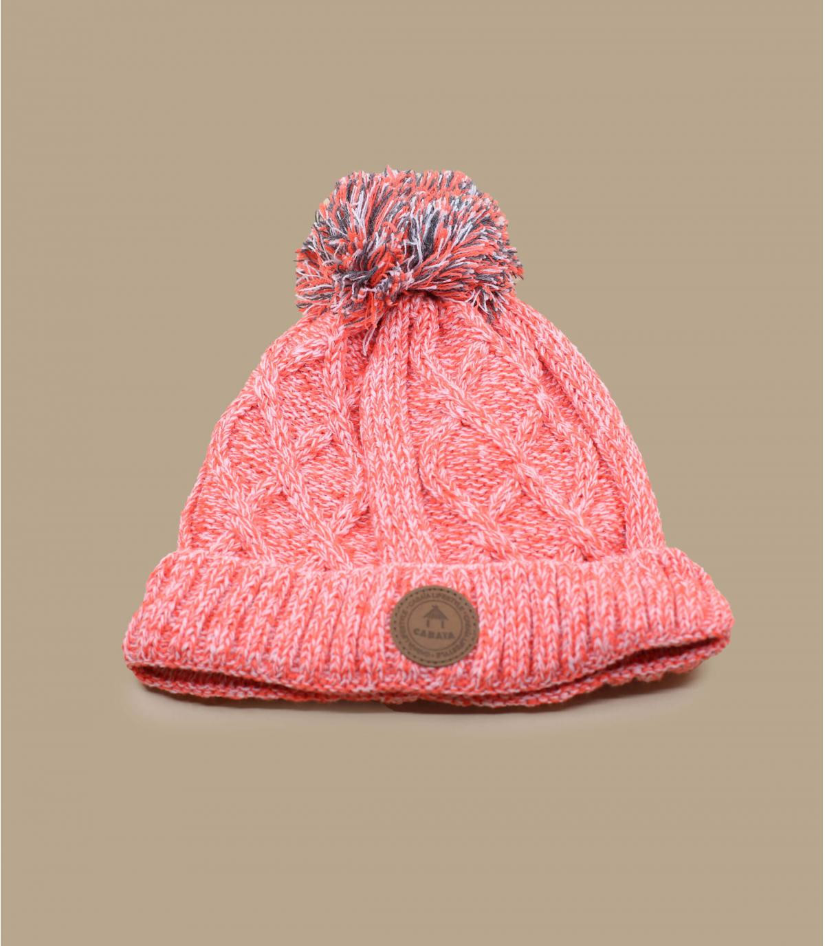 Kinder Mütze rosa Bommel