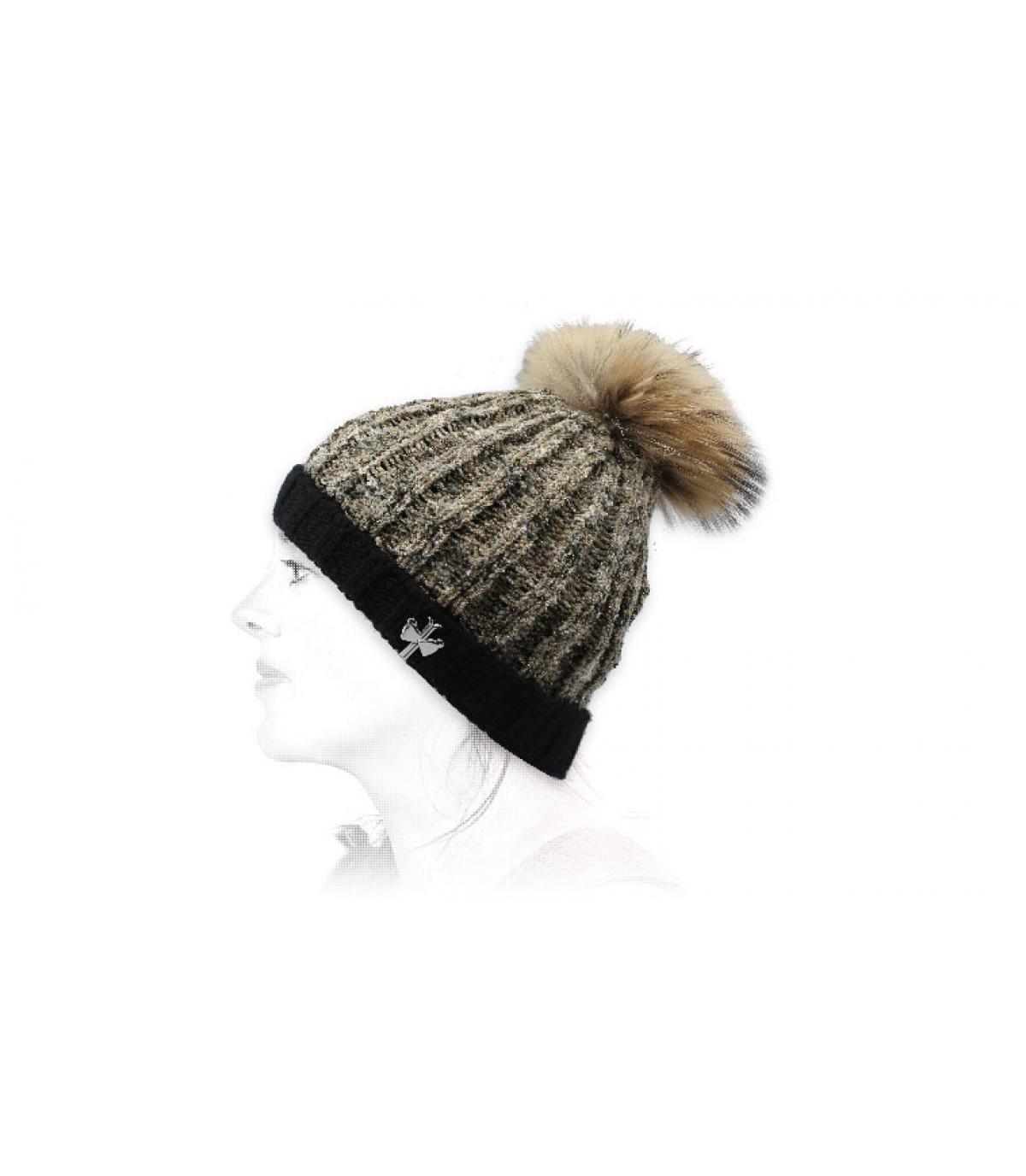 Mütze Wolle beige schwarz