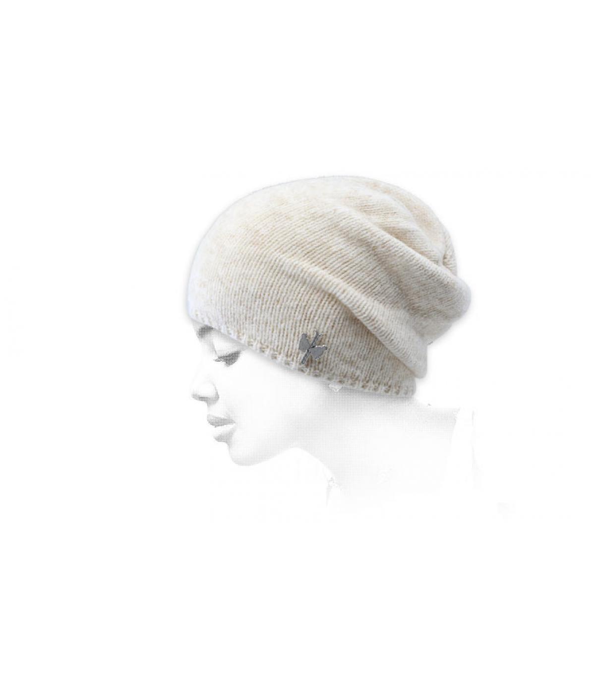 Lange Mütze beige Wolle