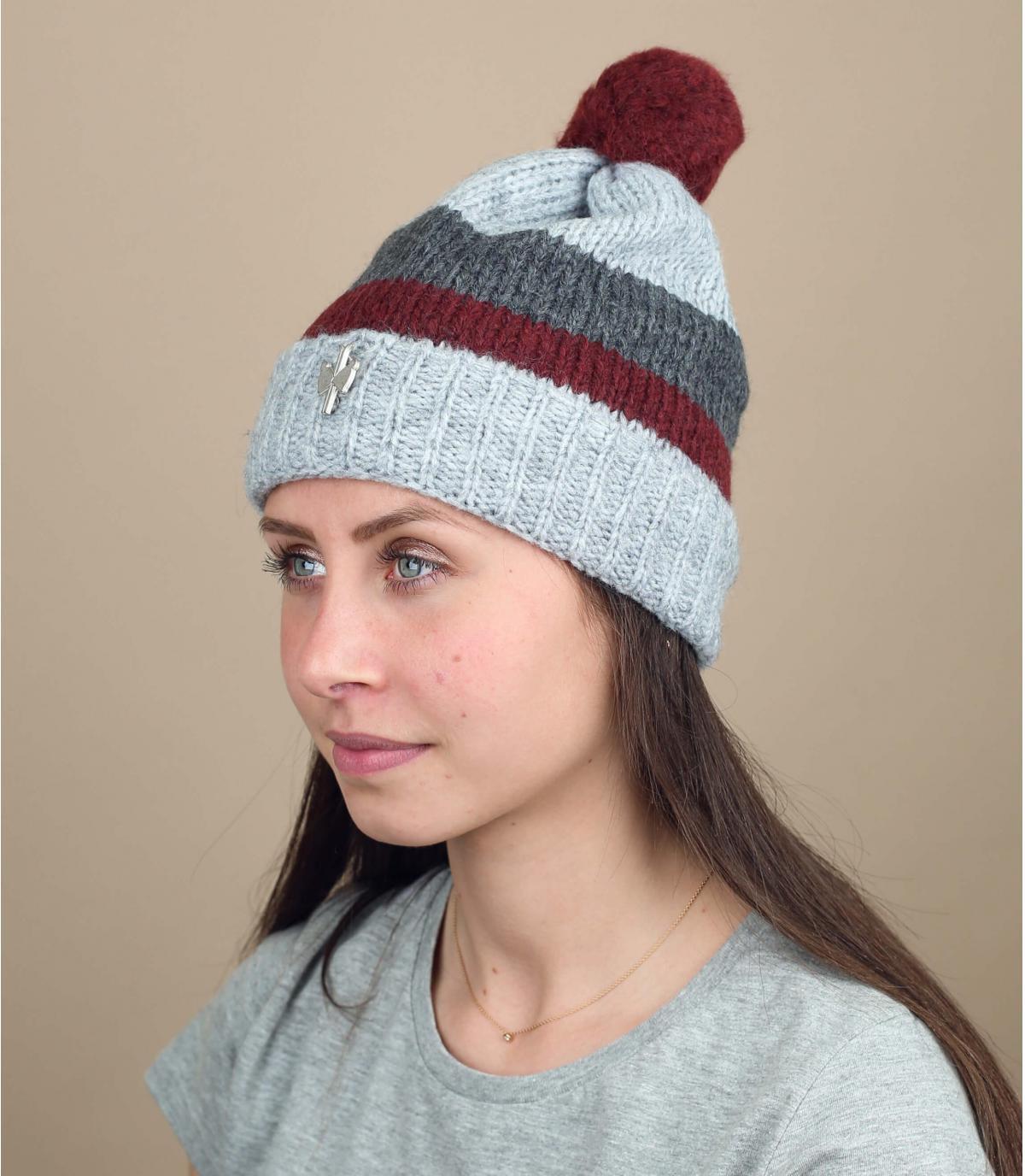 Bommel Mütze Wolle grau