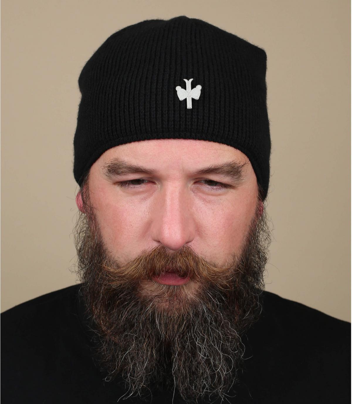 Bommel Mütze Kaschmir schwarz