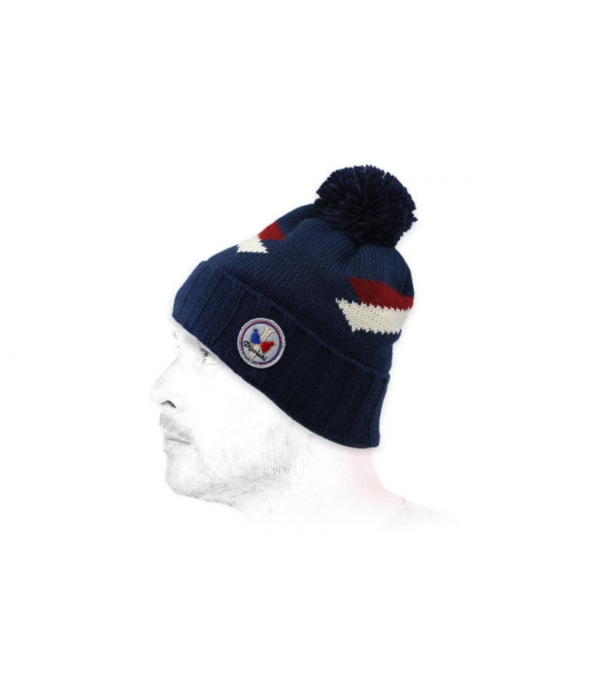 Bommel Mütze marineblau