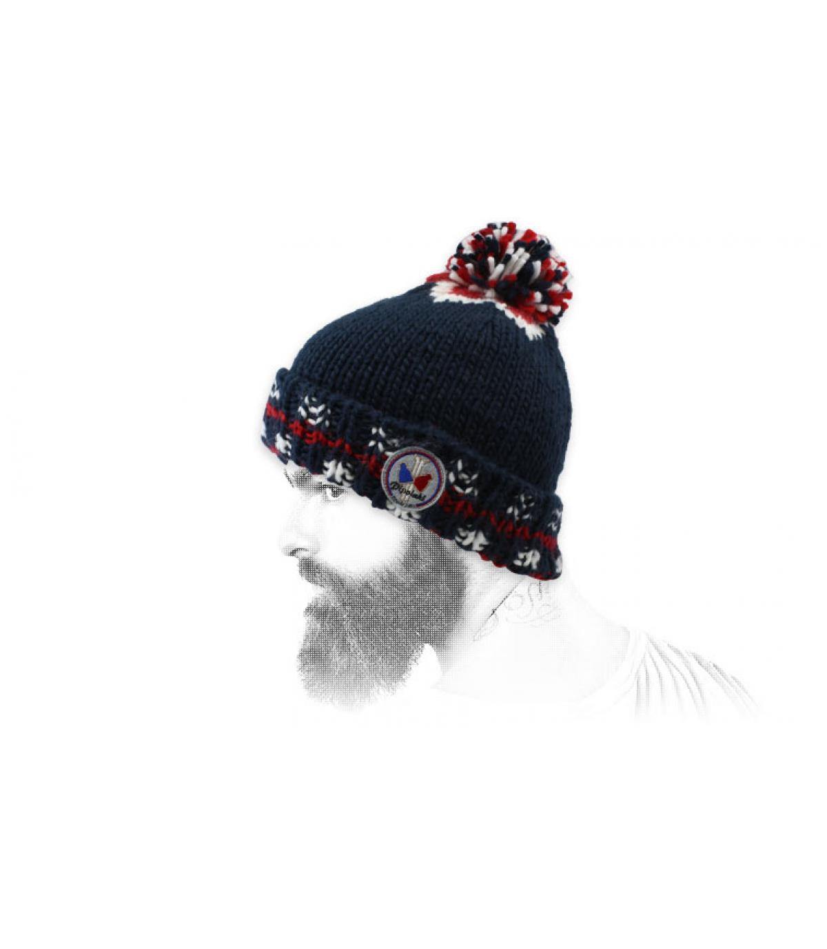 Bommel Mütze blau Retro