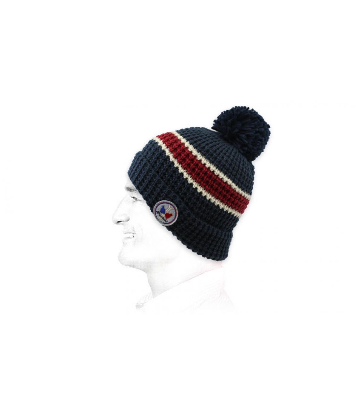 Mütze Streifen blau rot