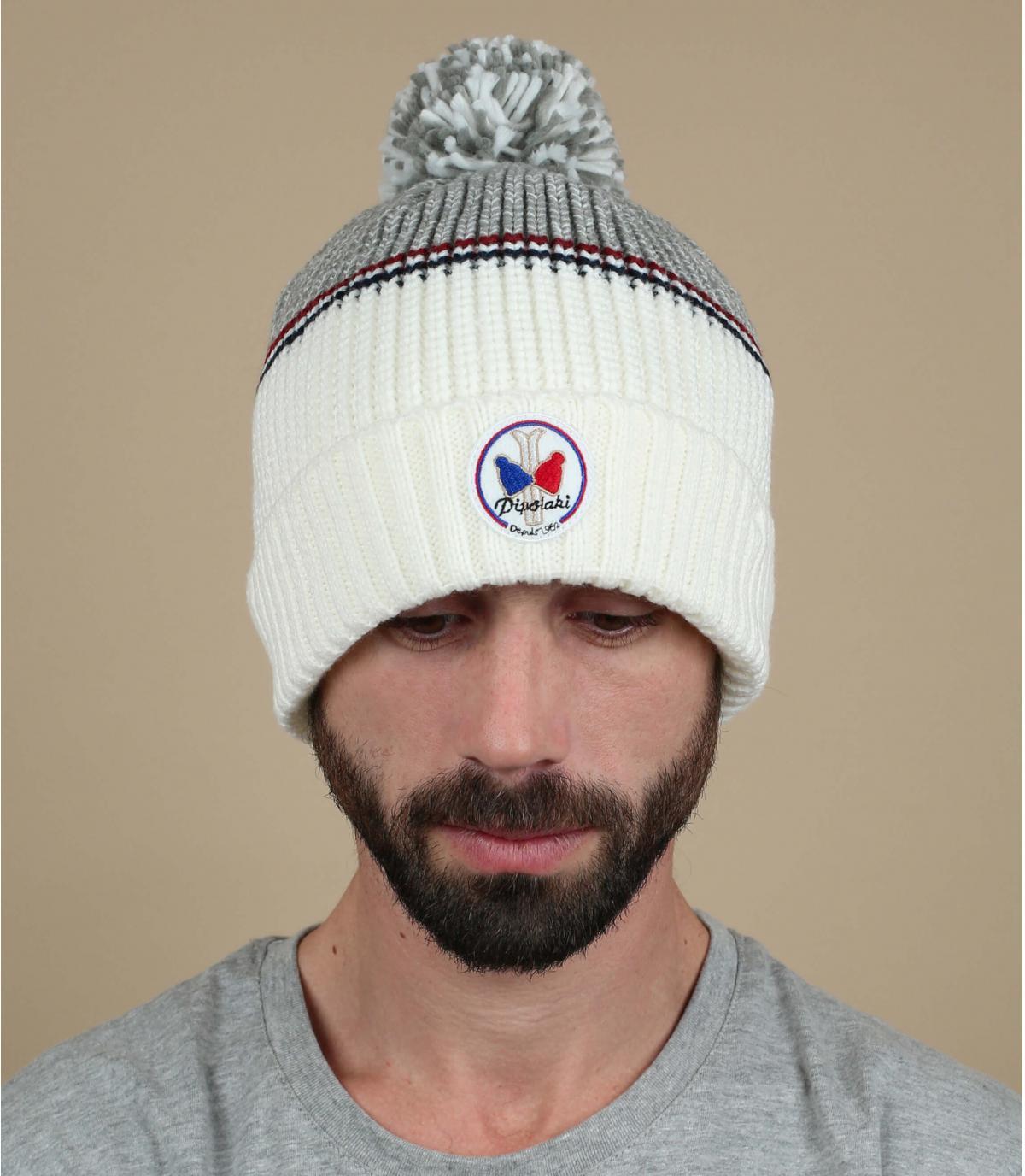 Bommel Mütze weiß grau