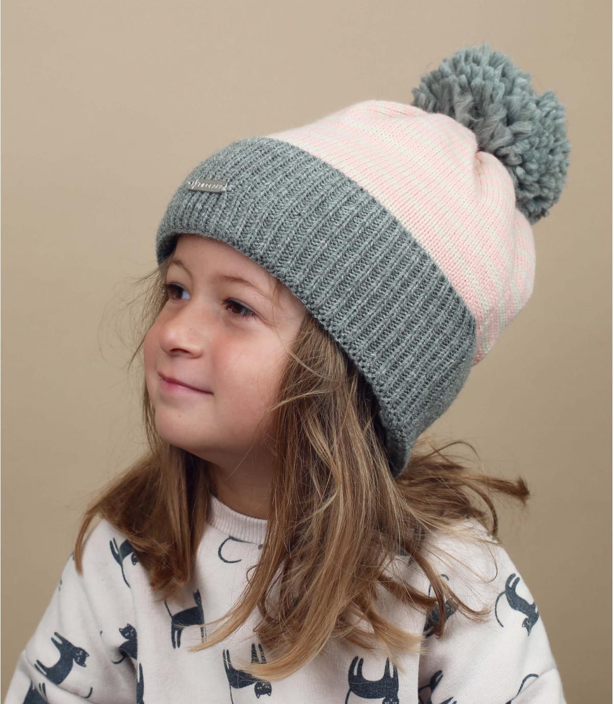 Kinder Mütze rosa grau