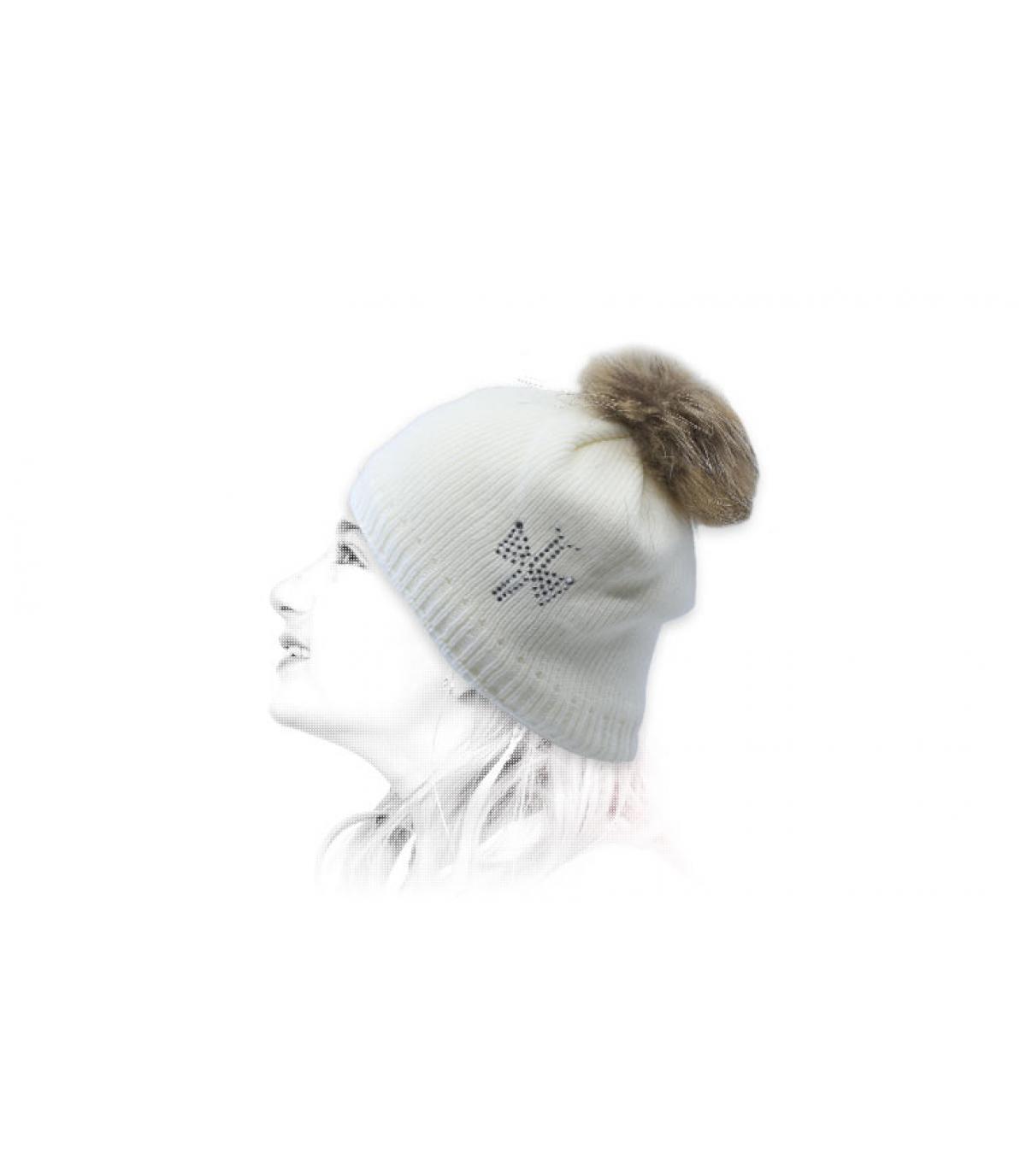 Kinder Mütze weiß Fellbommel