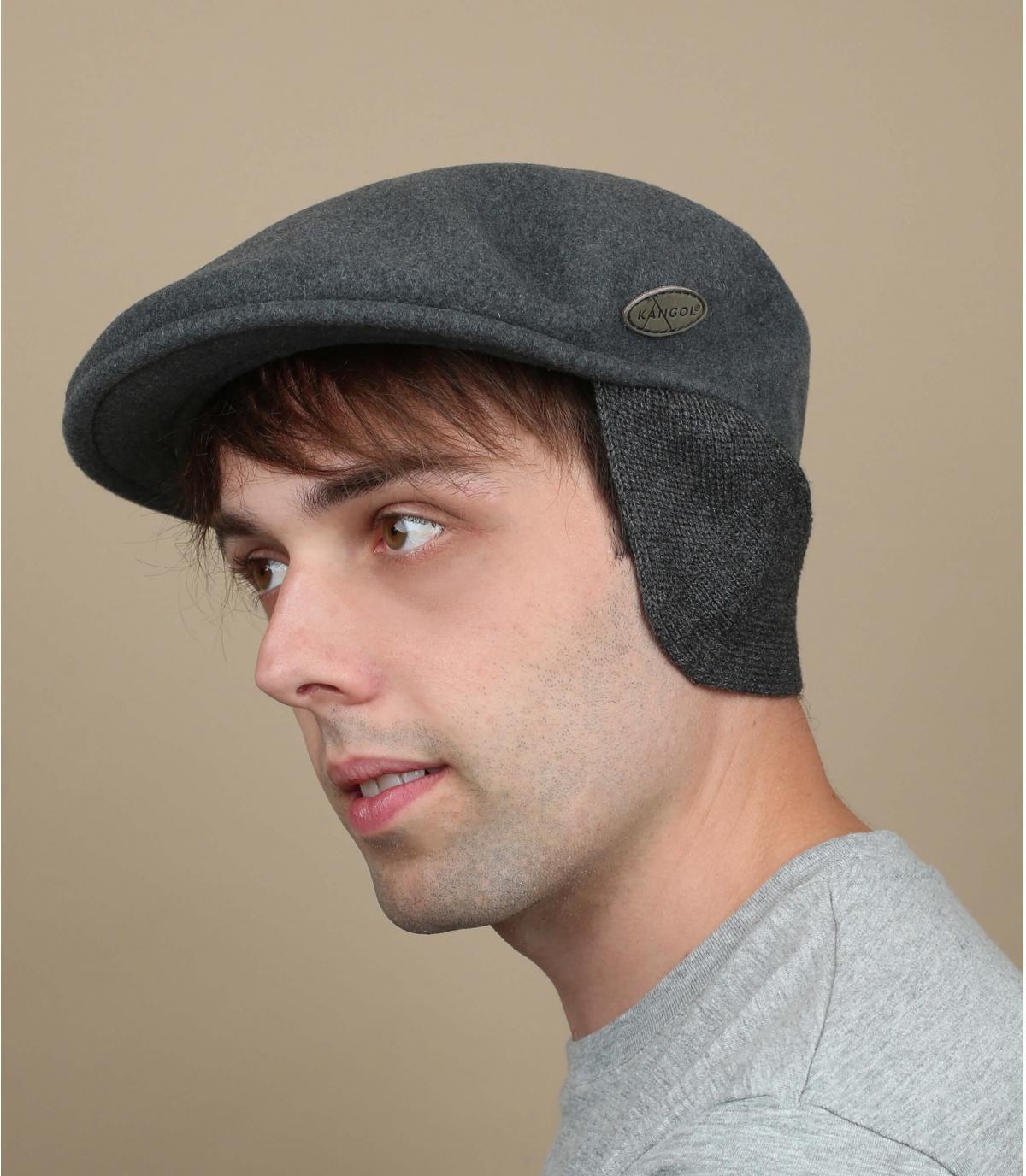 Barett grau Ohrenschützer