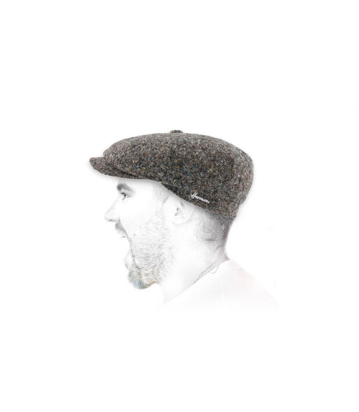 Newsboy Cap grau meliert Wolle
