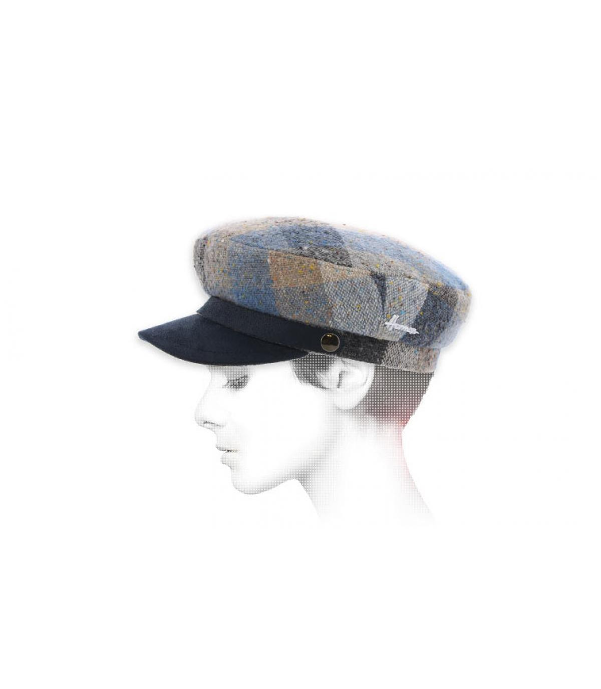 Seemanns Mütze kariert blau