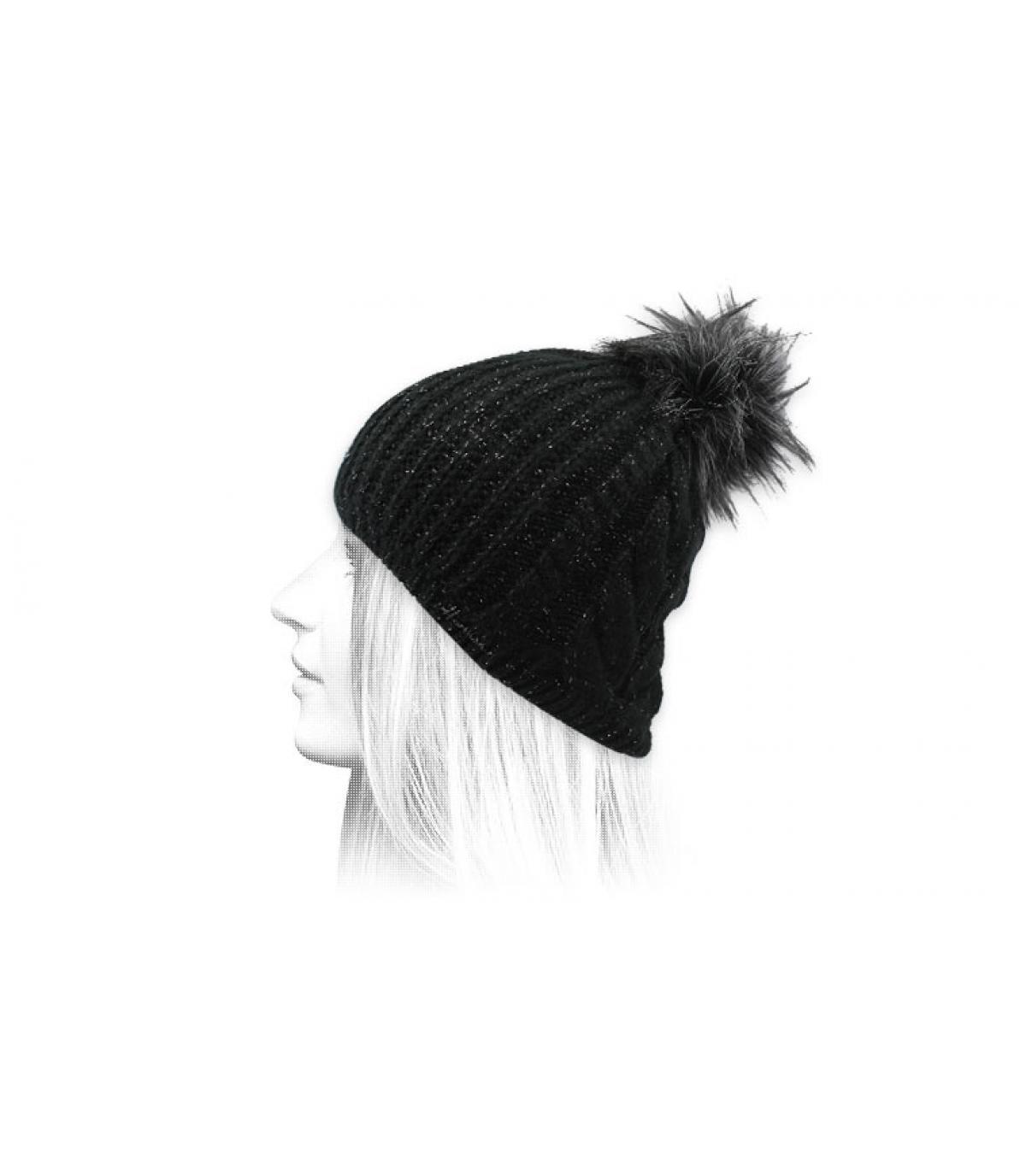 Schwarze Bommel Mütze Lurex