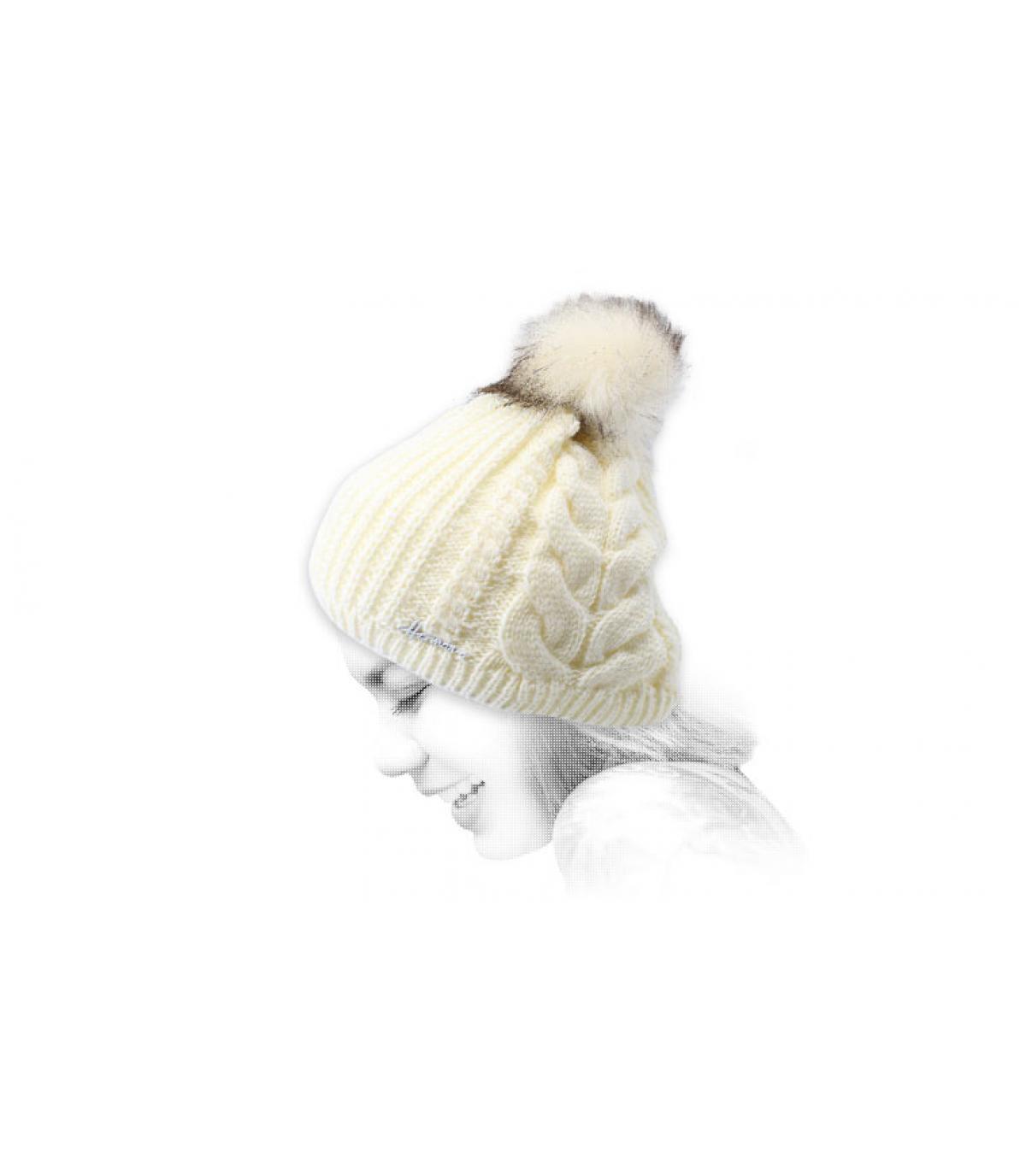 Weiße Bommel Mütze Lurex