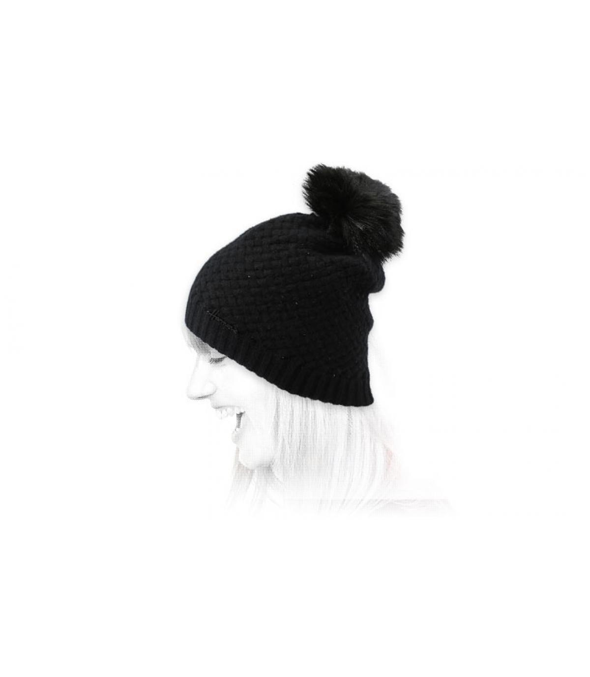 Bommel Mütze Strass schwarz