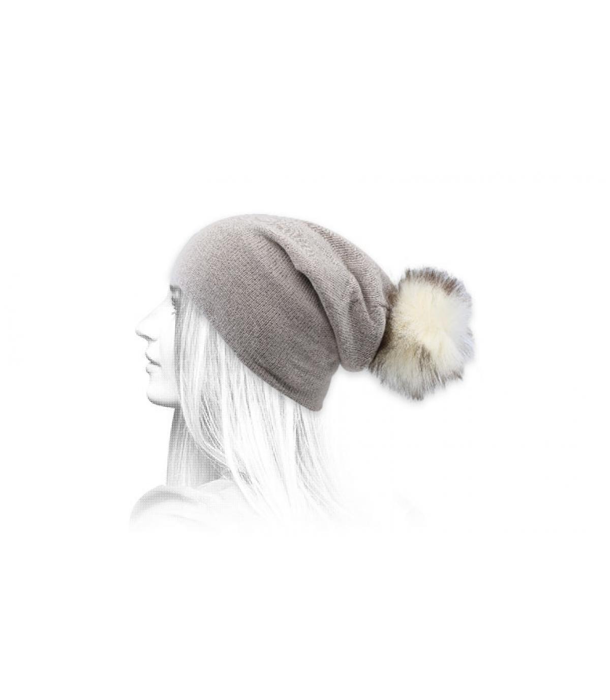 Bommel Mütze Fellbommel beige