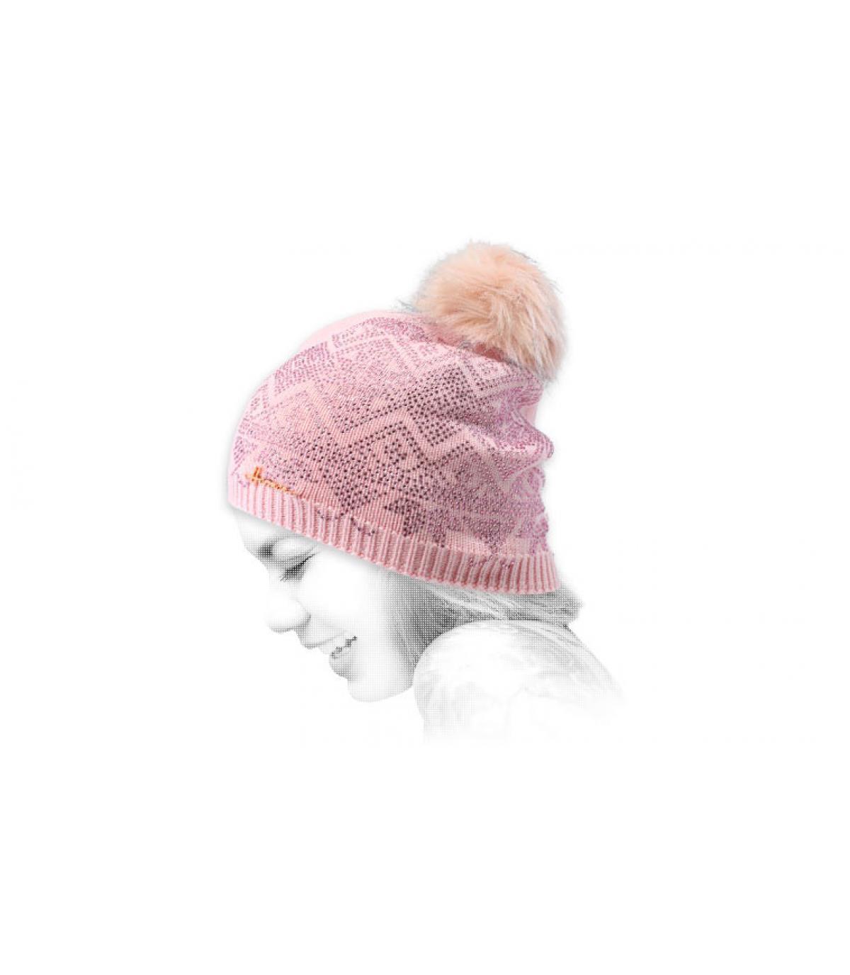 Mütze rosa Strass Fell