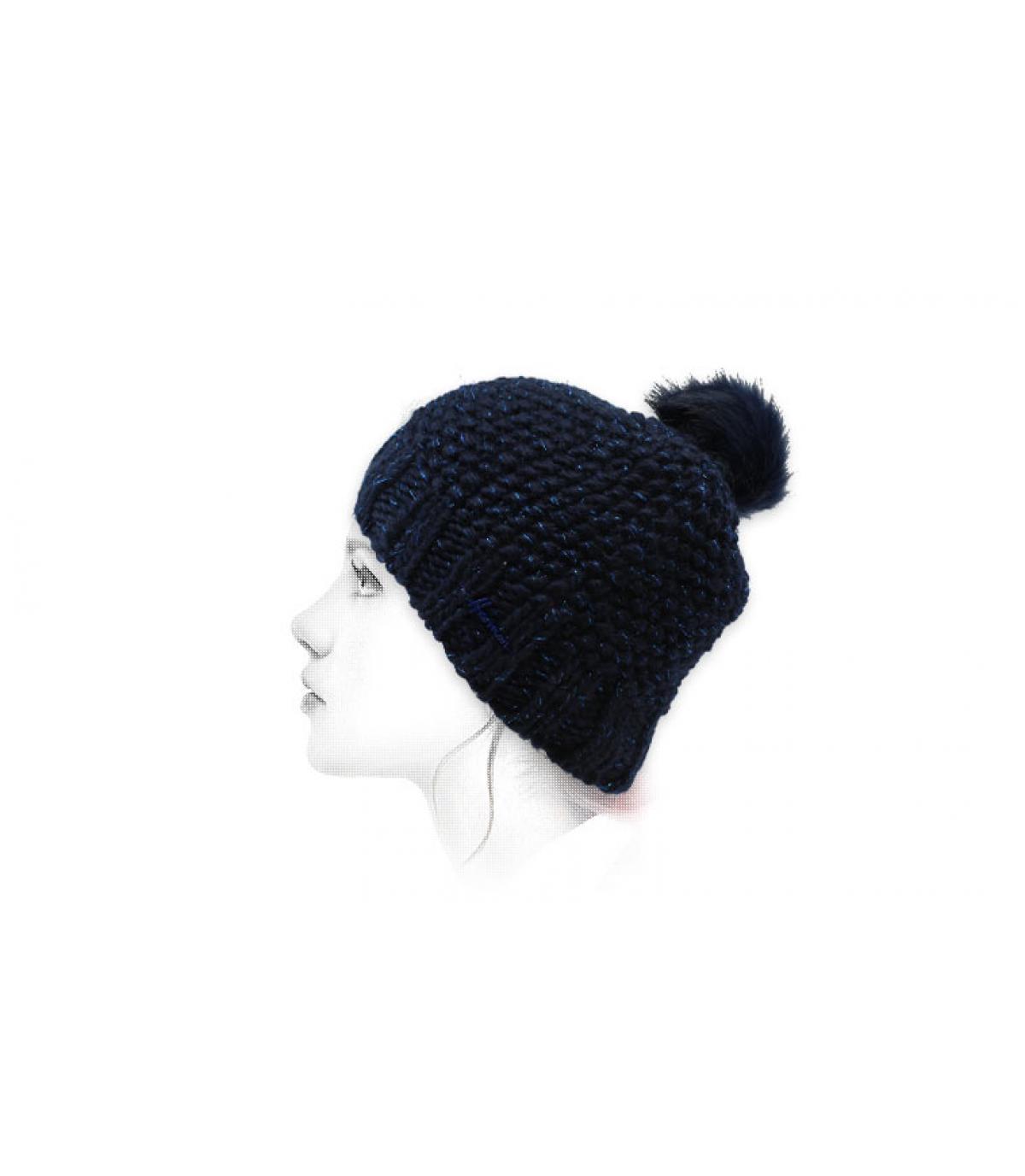 Bommel Mütze Lurex blau