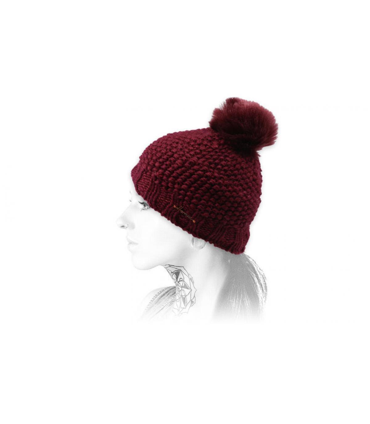 Bommel Mütze bordeaux Lurex