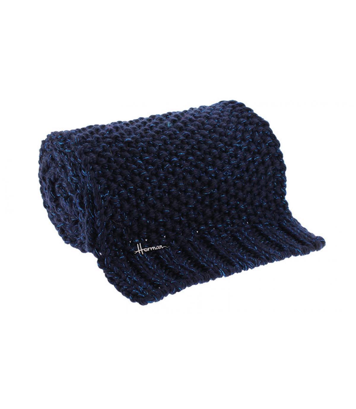 Schal blau Wolle Lurex