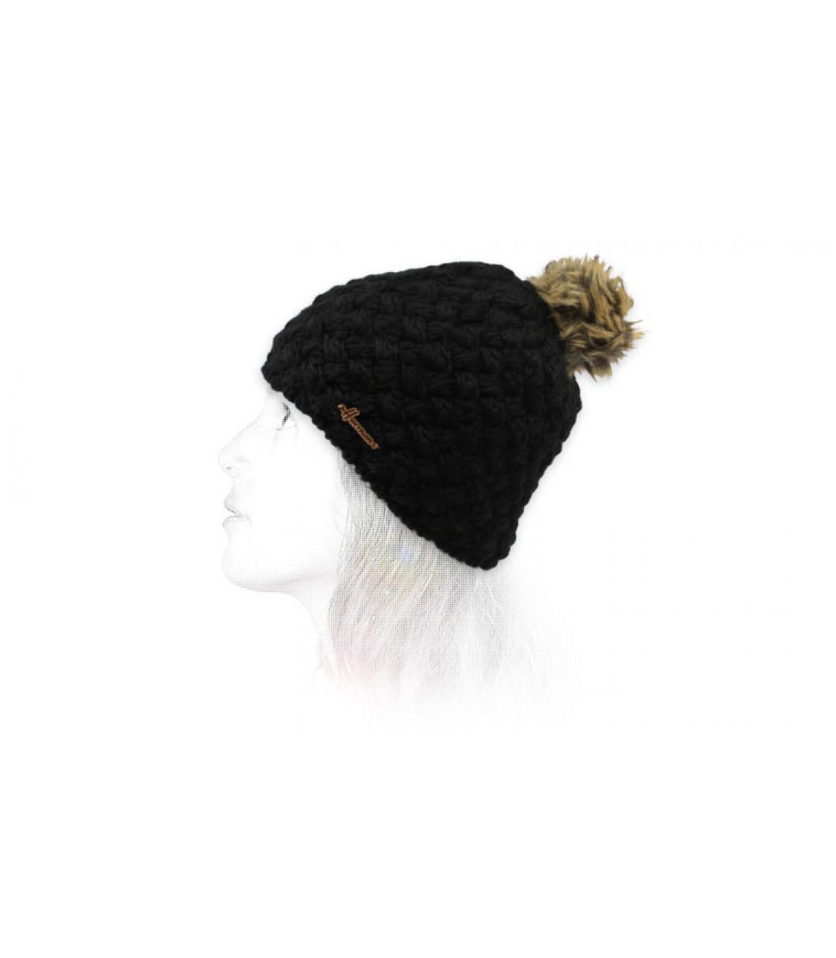 Wollmütze schwarz Bommel