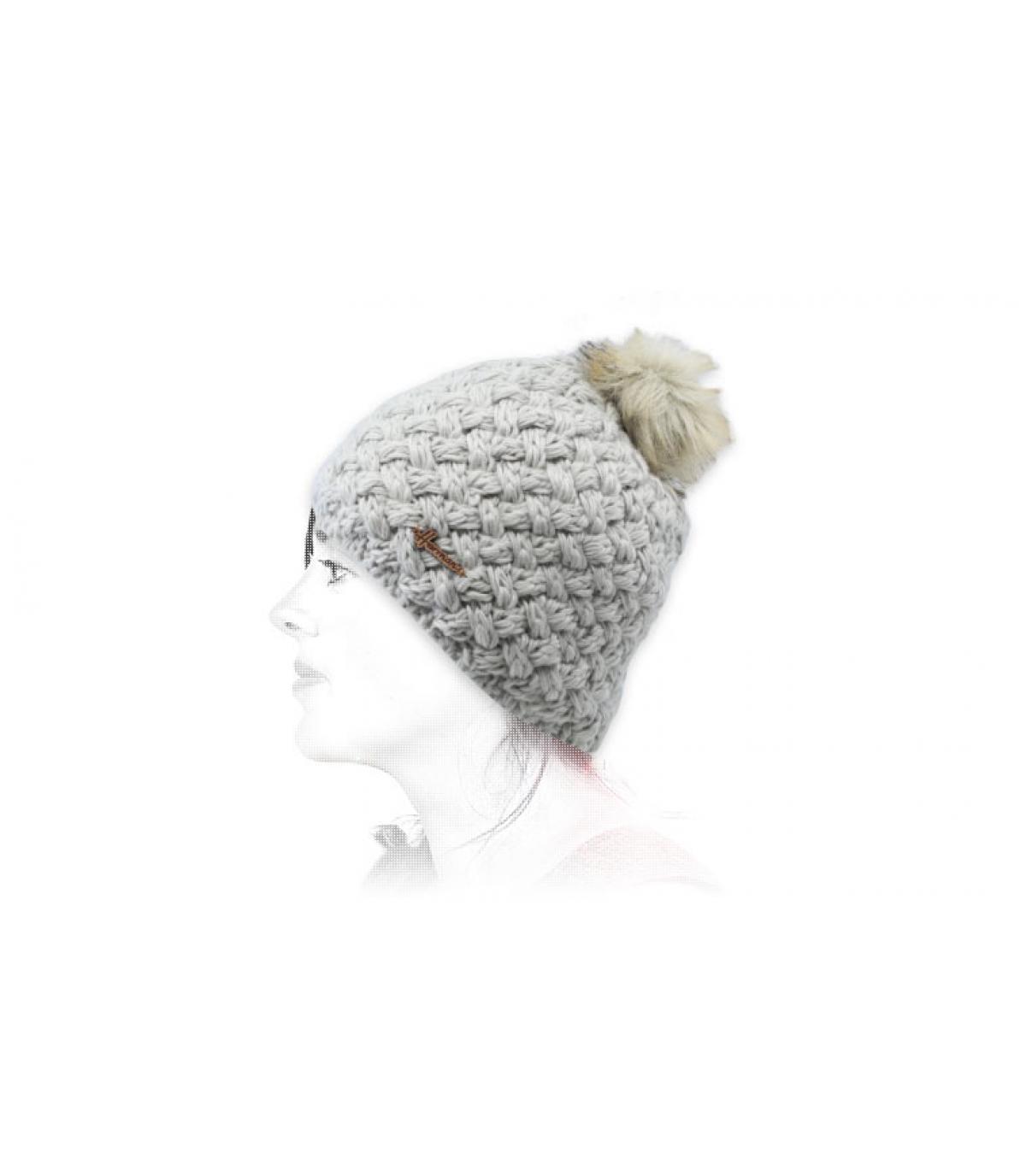 Mütze Wolle grau Fellbommel