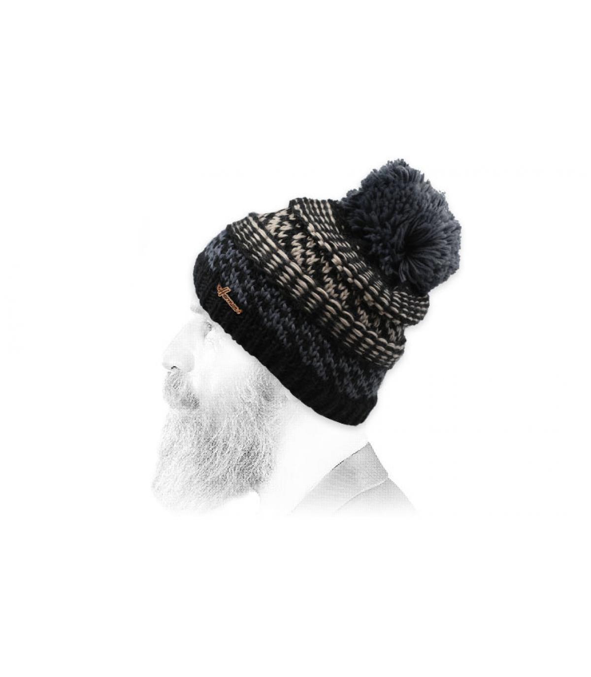 Bommel Mütze schwarz Motiv