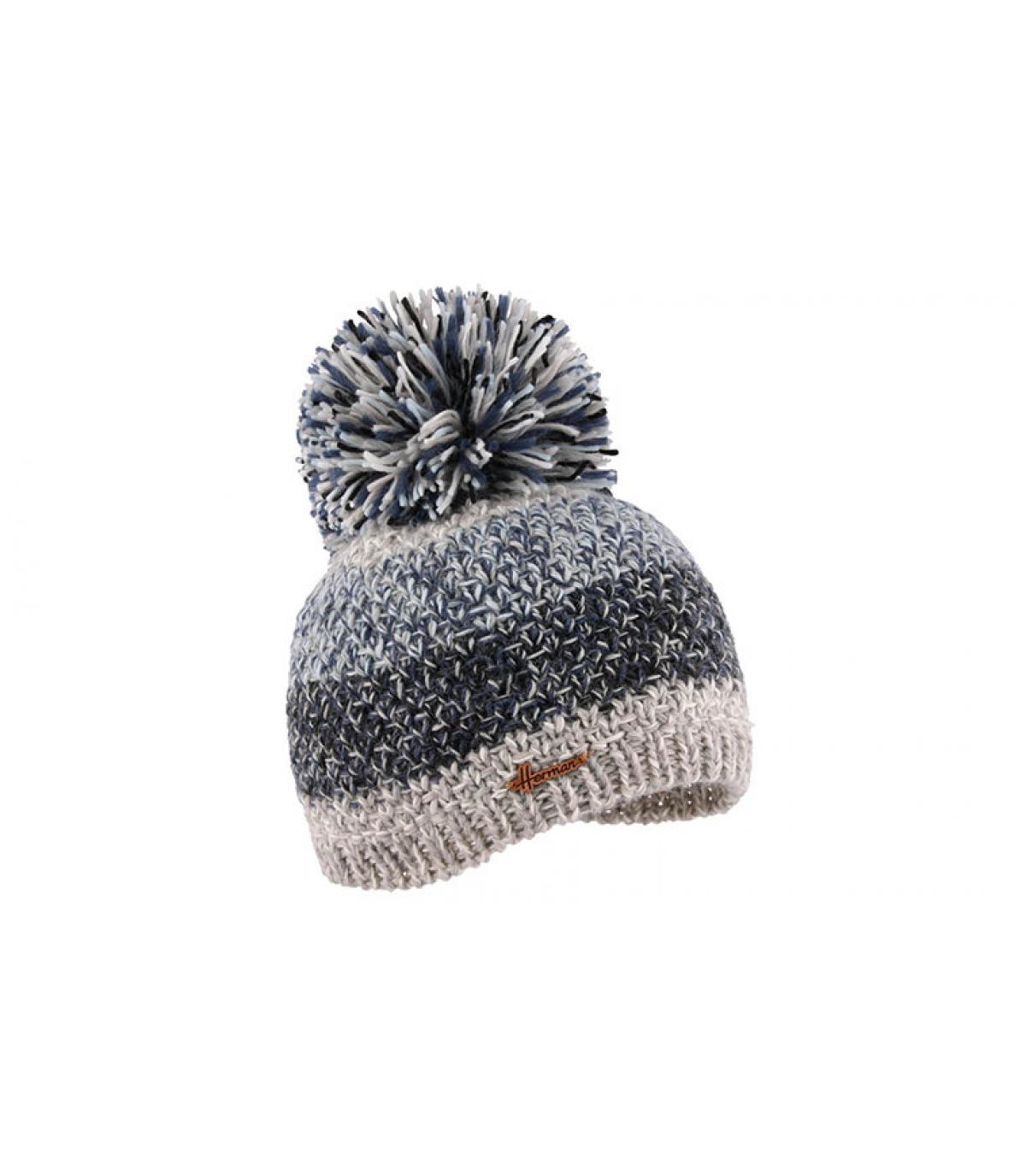 Bommel Mütze Streifen blau