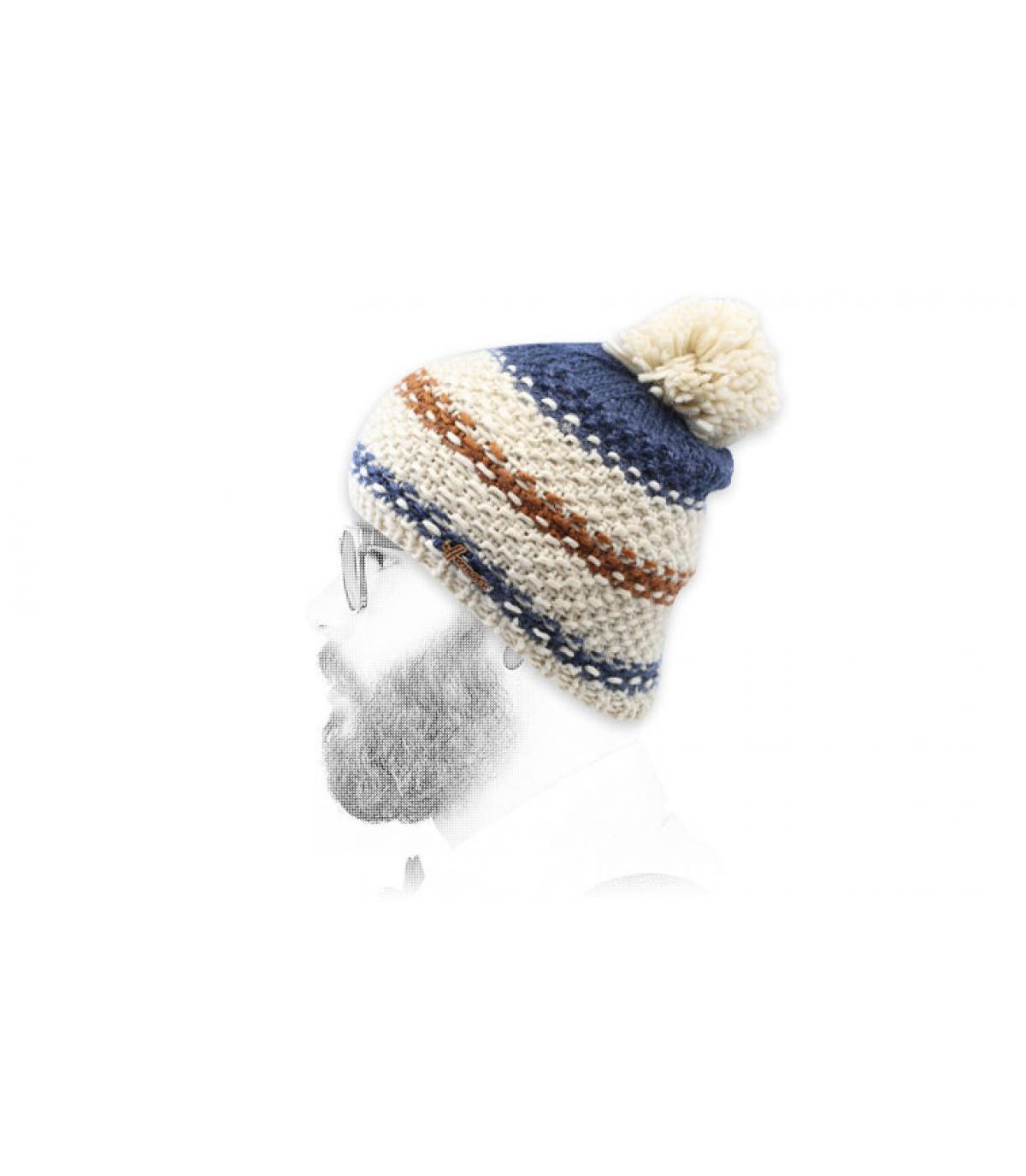 Bommel Mütze Streifen beige blau