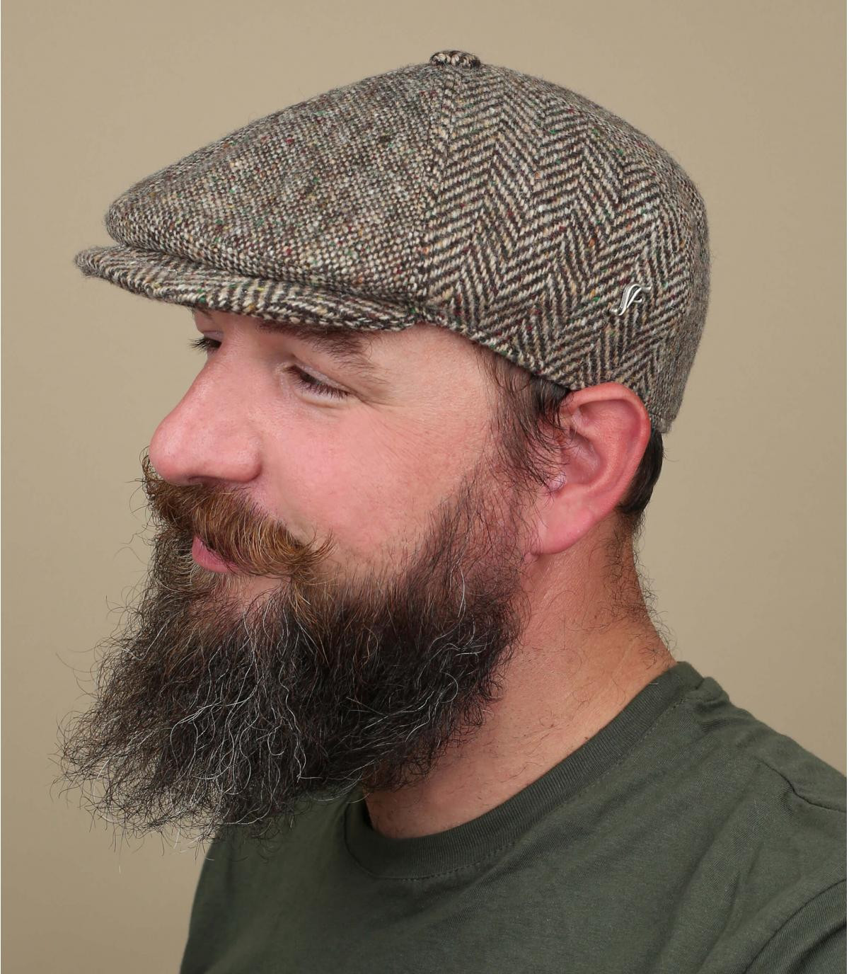 Newboy Cap braun Fischgrätmuster Wolle