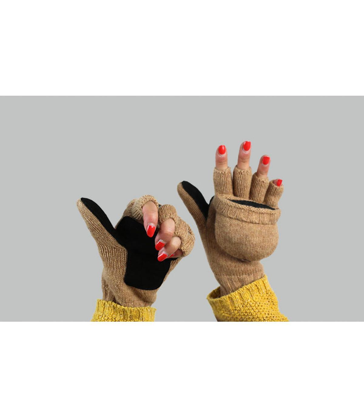 Handschuhe Fausthandschuhe Damen beige