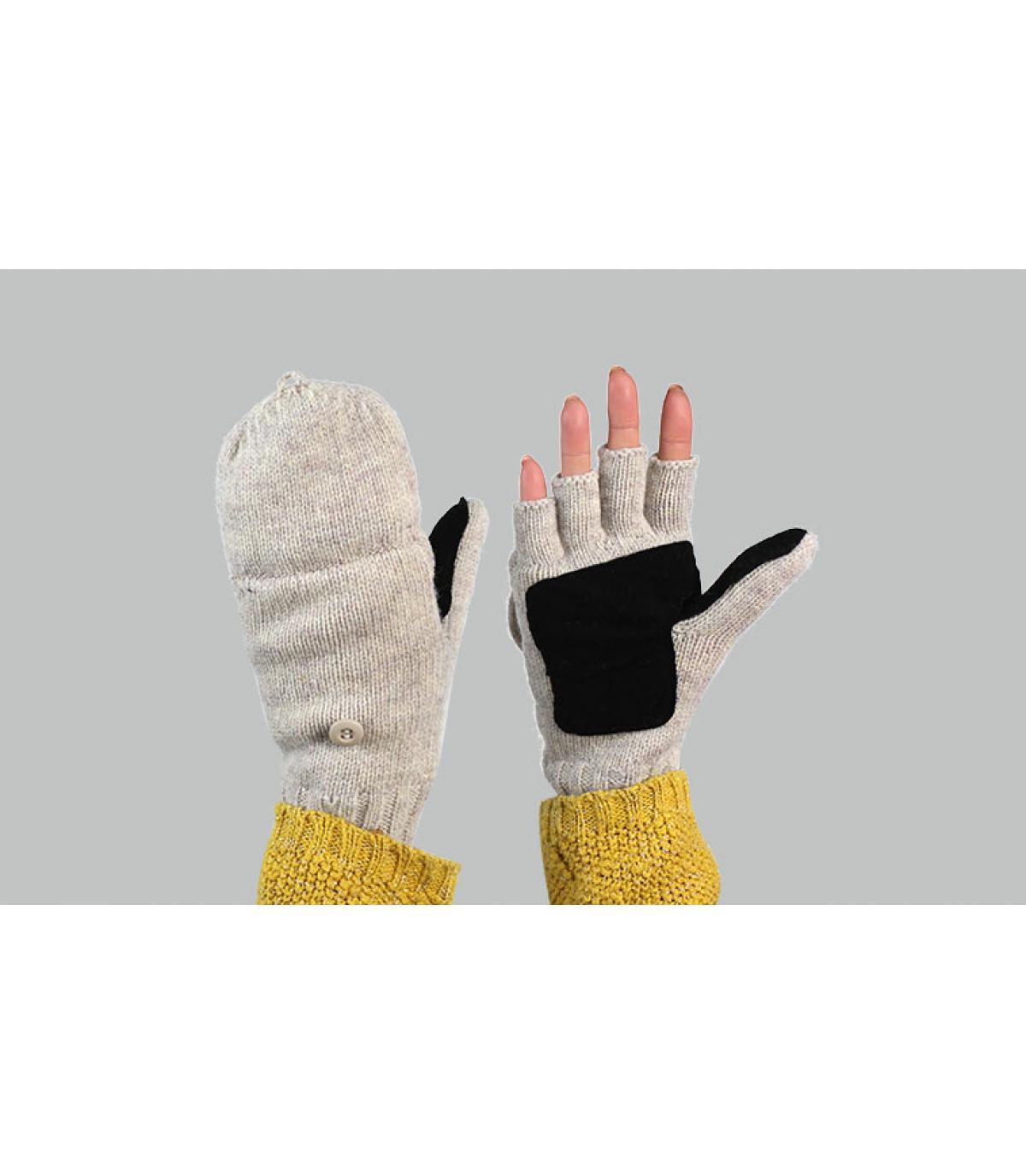 Halbfingerhandschuh Damen grau
