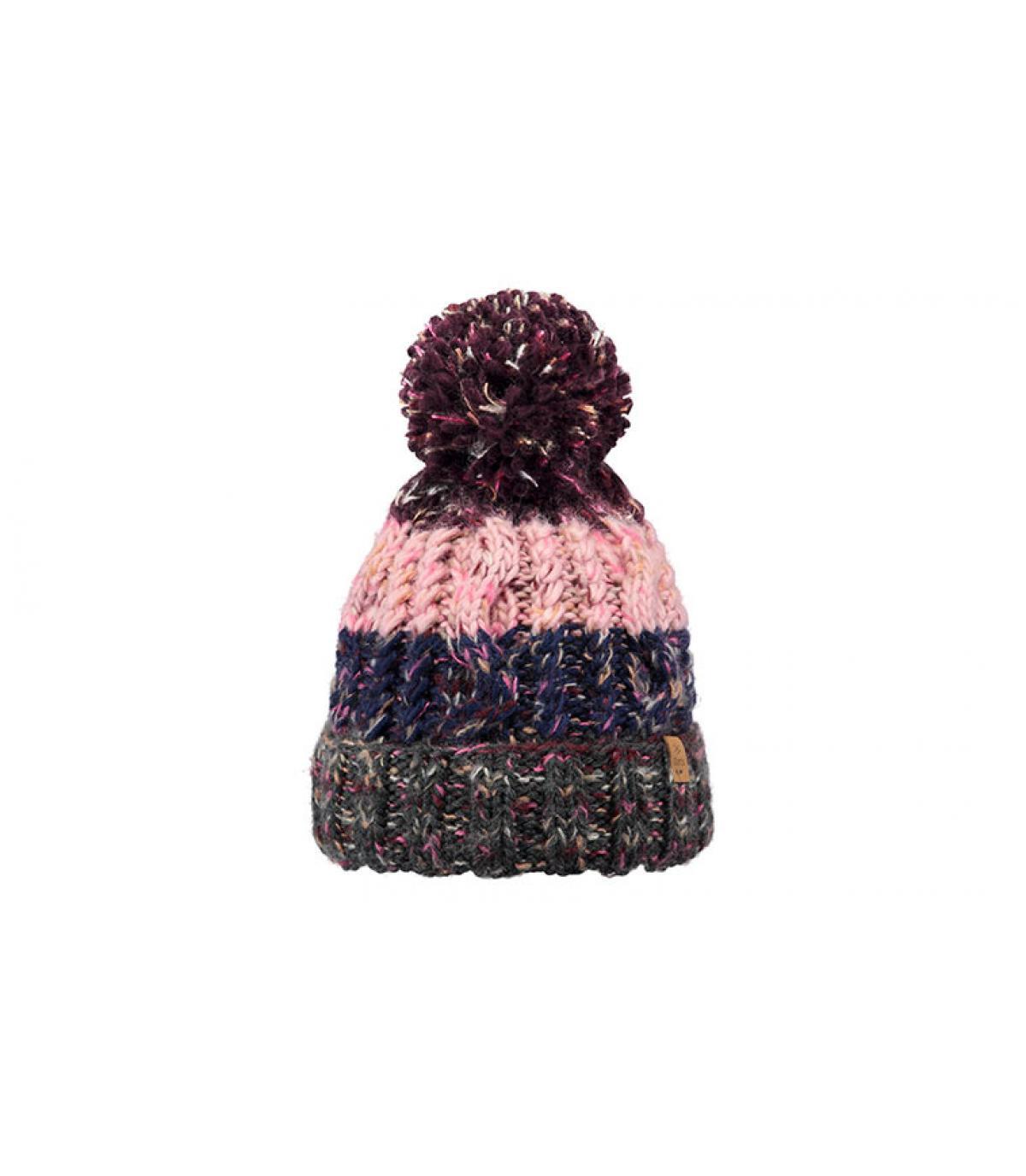 Bommel Mütze gestreift rosa grau