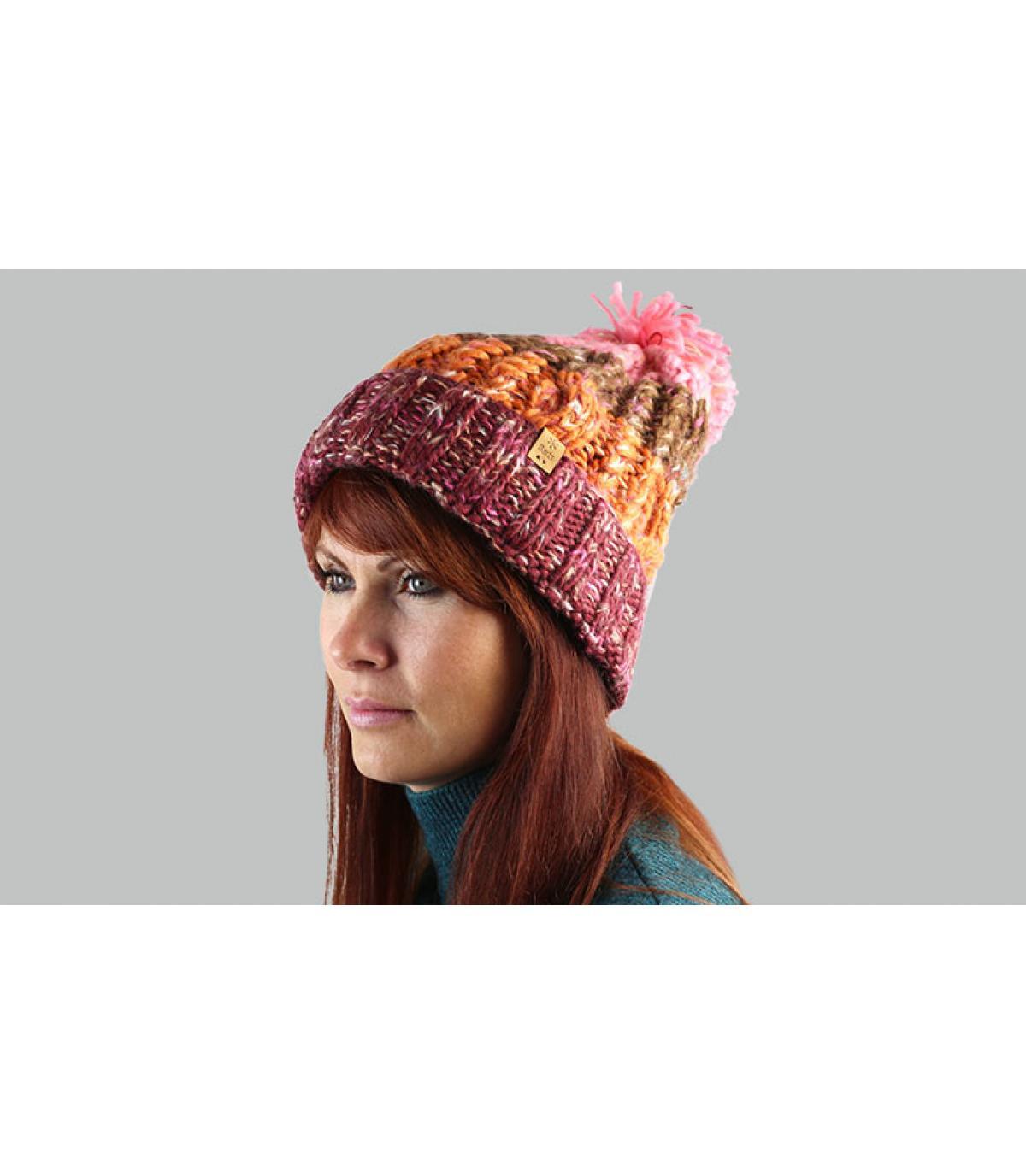 Bommel Mütze rosa orange Streifen