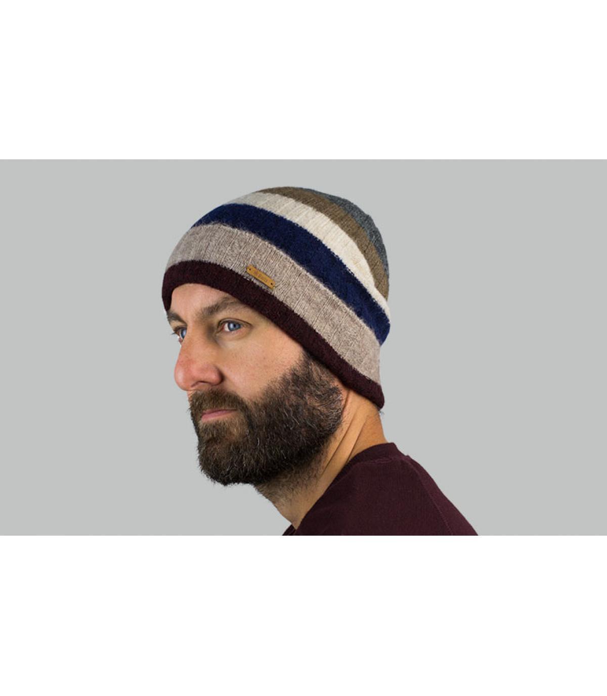 Mütze mit Rand beige Streifen