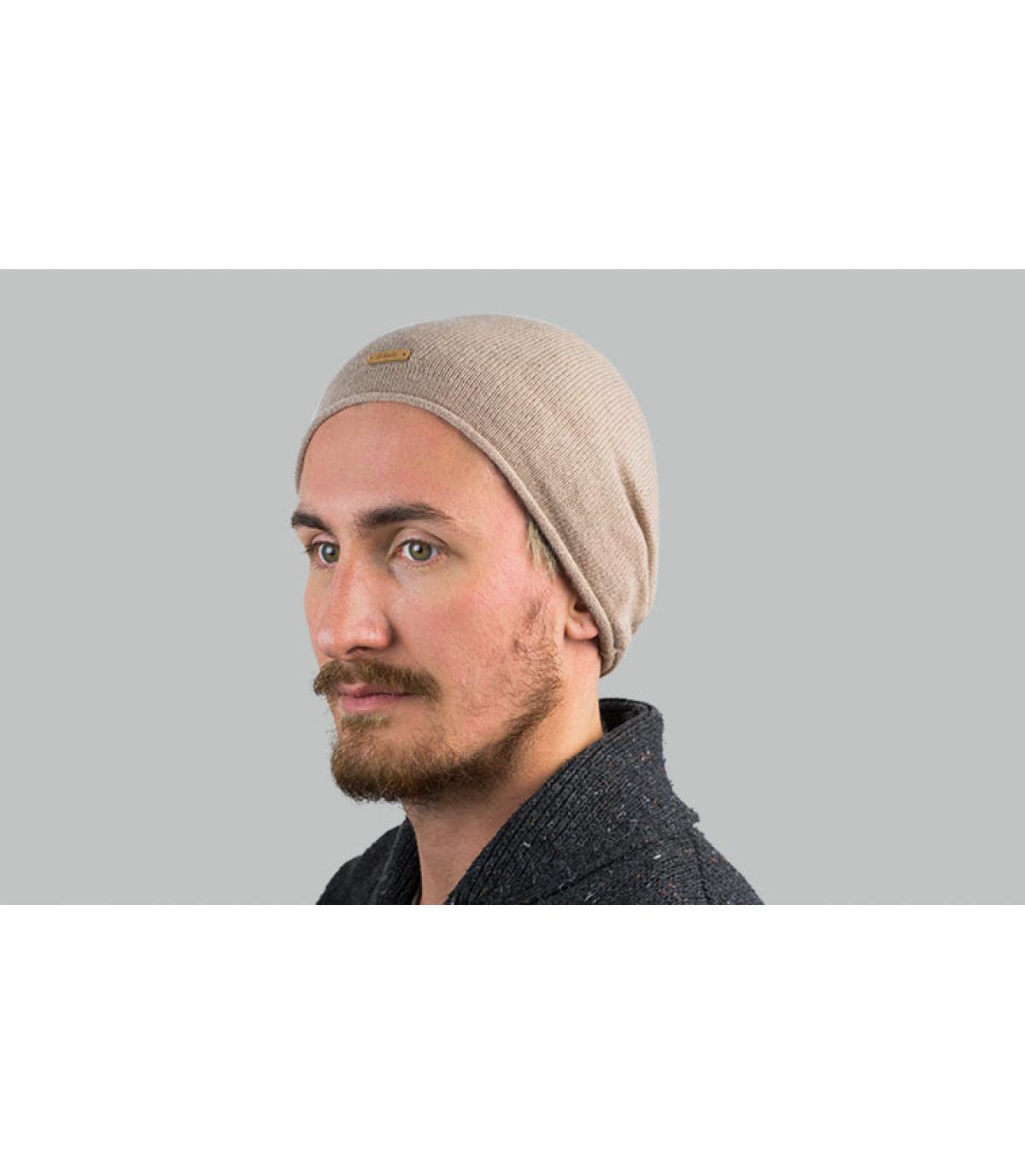 Lange Mütze beige Kaschemir