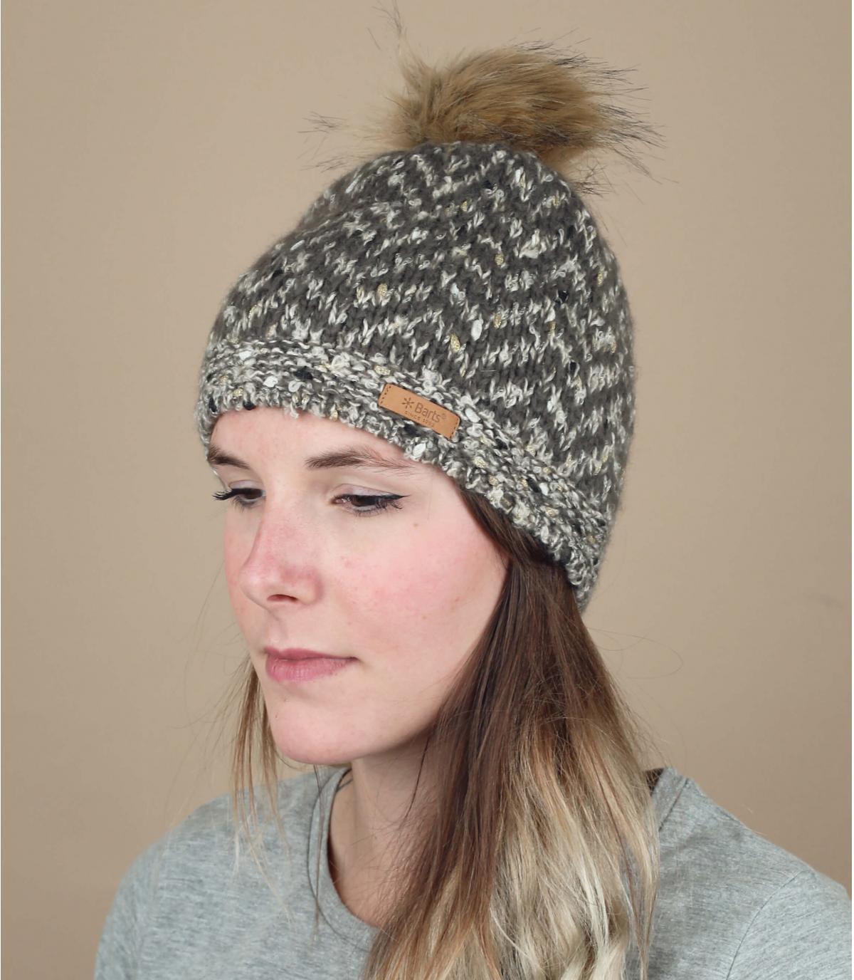 Mütze grau Zickzackornament Fellbommel