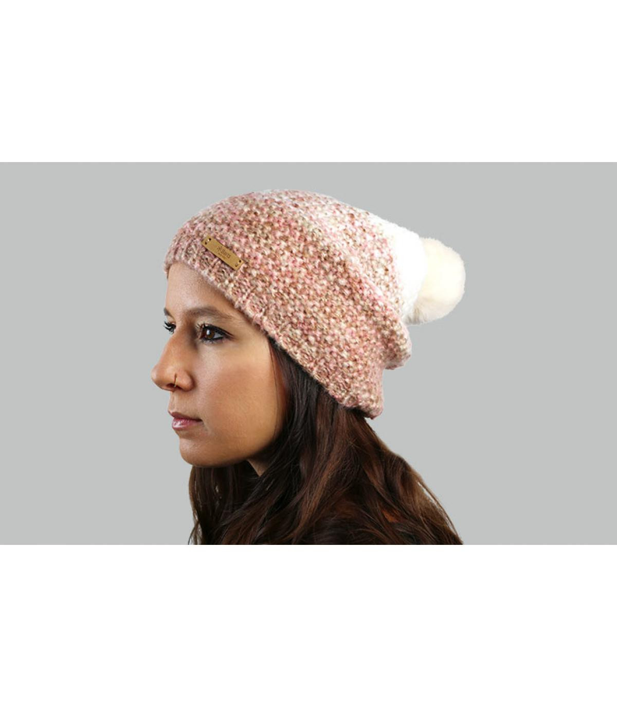Lange Mütze rosa abgestuft