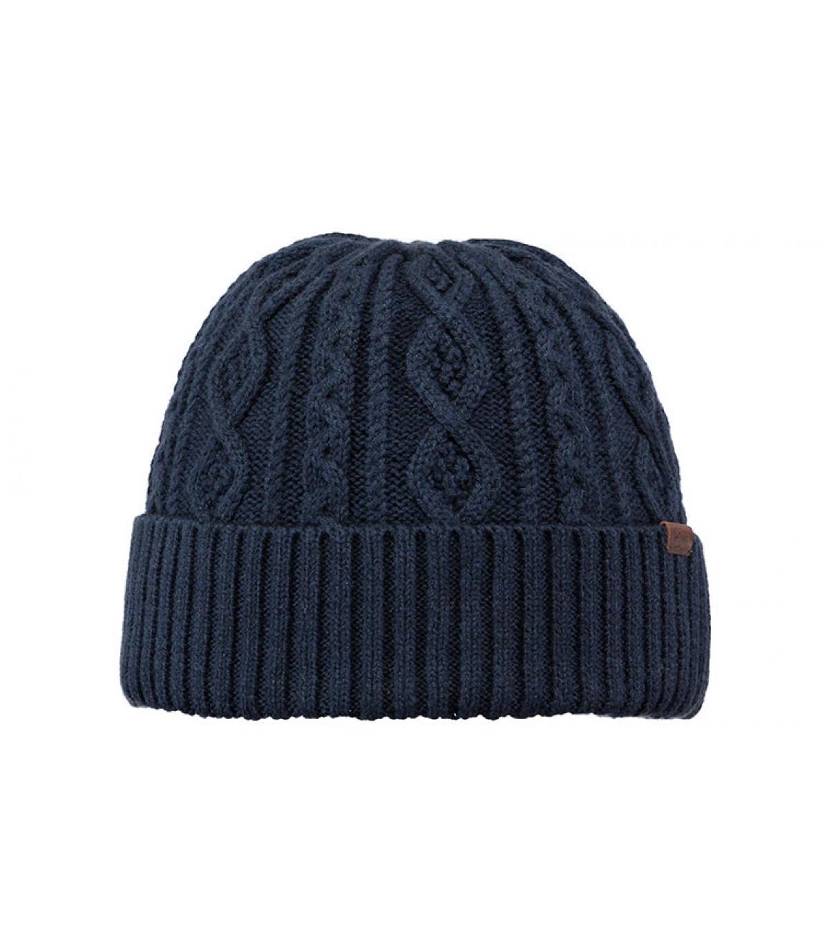 Mütze mit Revers marineblau Zopfmuster