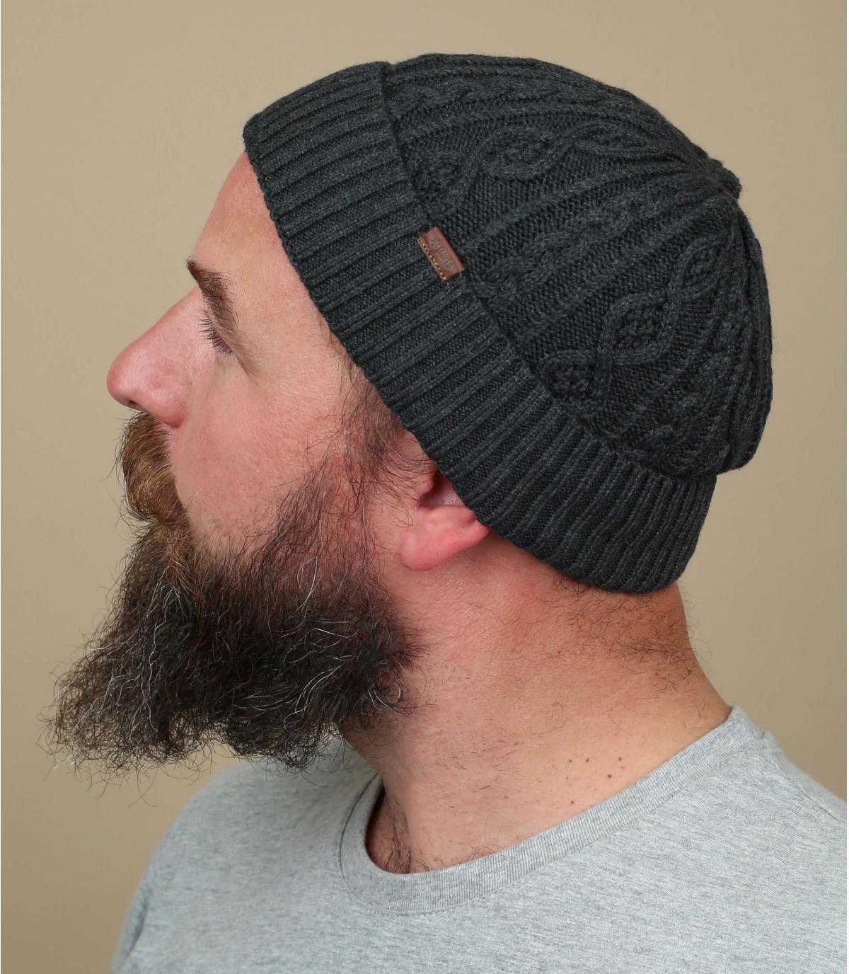 Mütze Rand grau Zopfmuster
