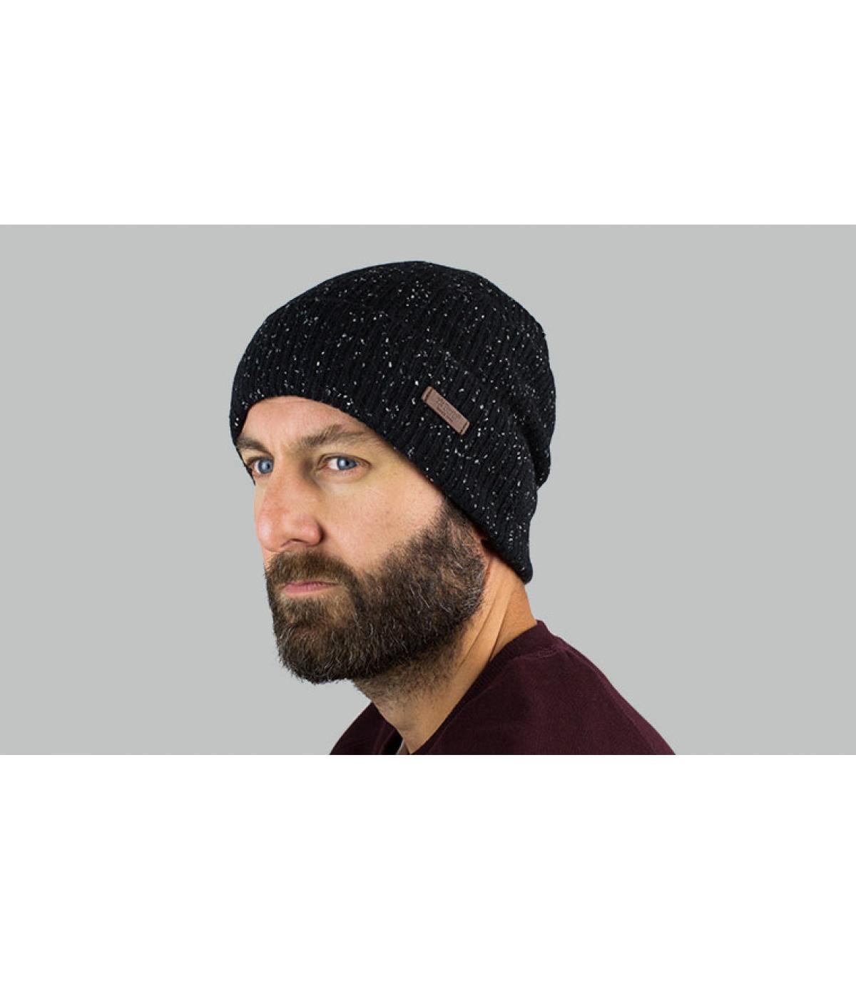 Mütze mit Rand schwarz meliert